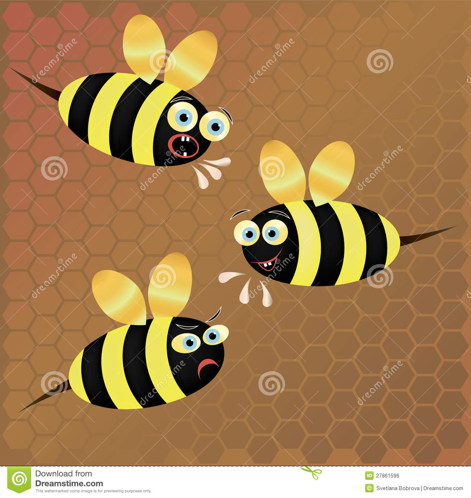 Na honeycomb tle wektorowa pszczoła