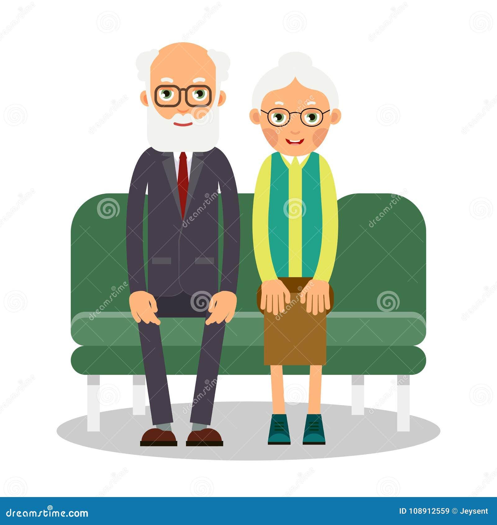 Na kanapie siedzi starsze osoby mężczyzna i kobieta Rodzinny portret elderl