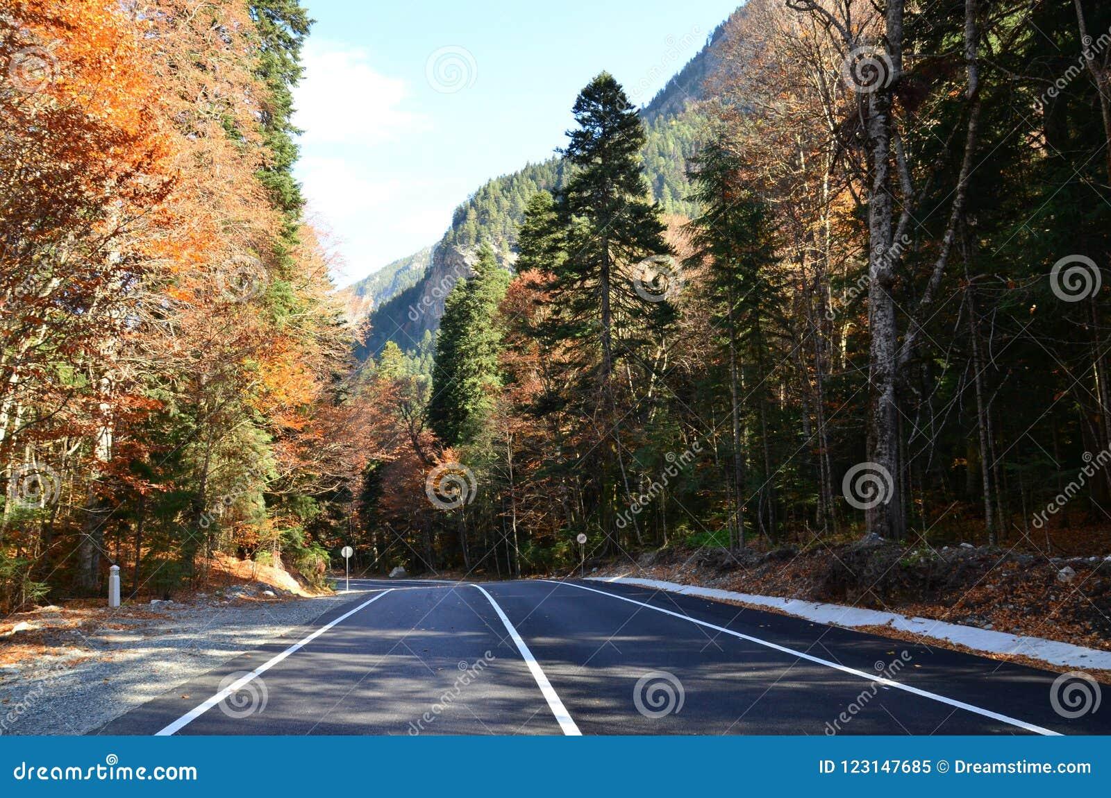 Na maneira às montanhas do Cáucaso Noite do outono