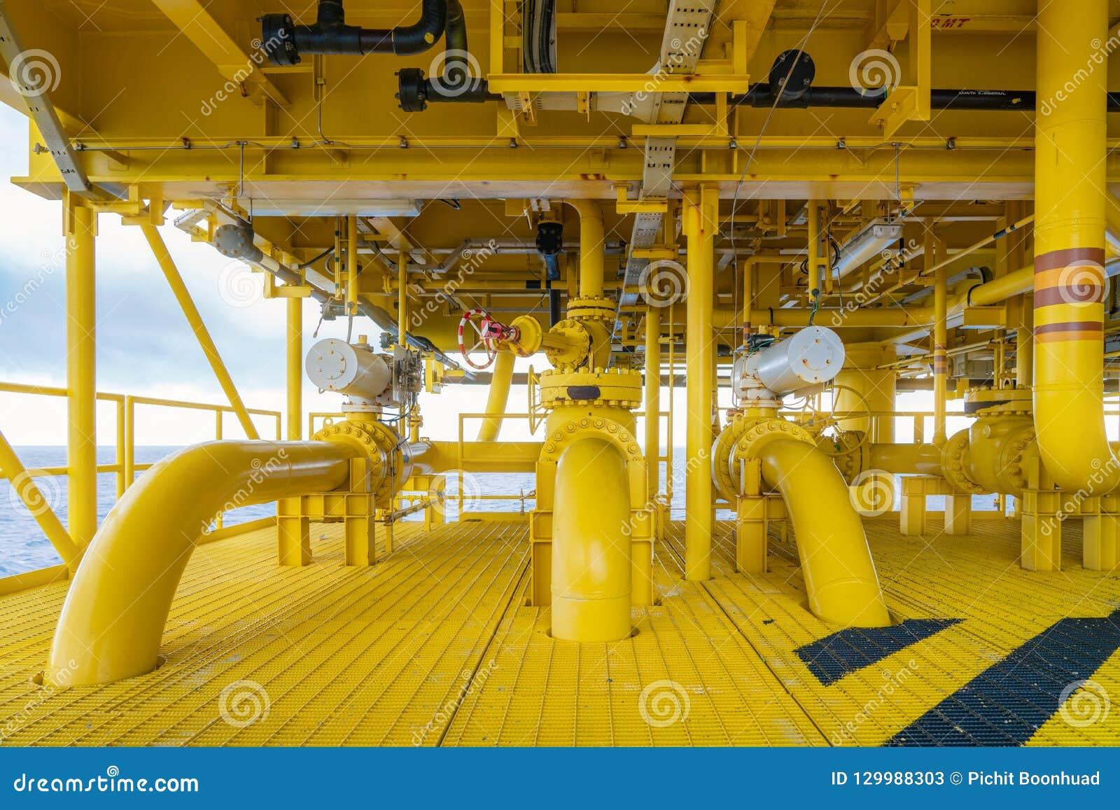 Na morzu drymba, podnośnik, sealine na ropa i gaz wellhead centrum dalekiej platformie i środkowa łatwość łączyć, gazy i ropę naf