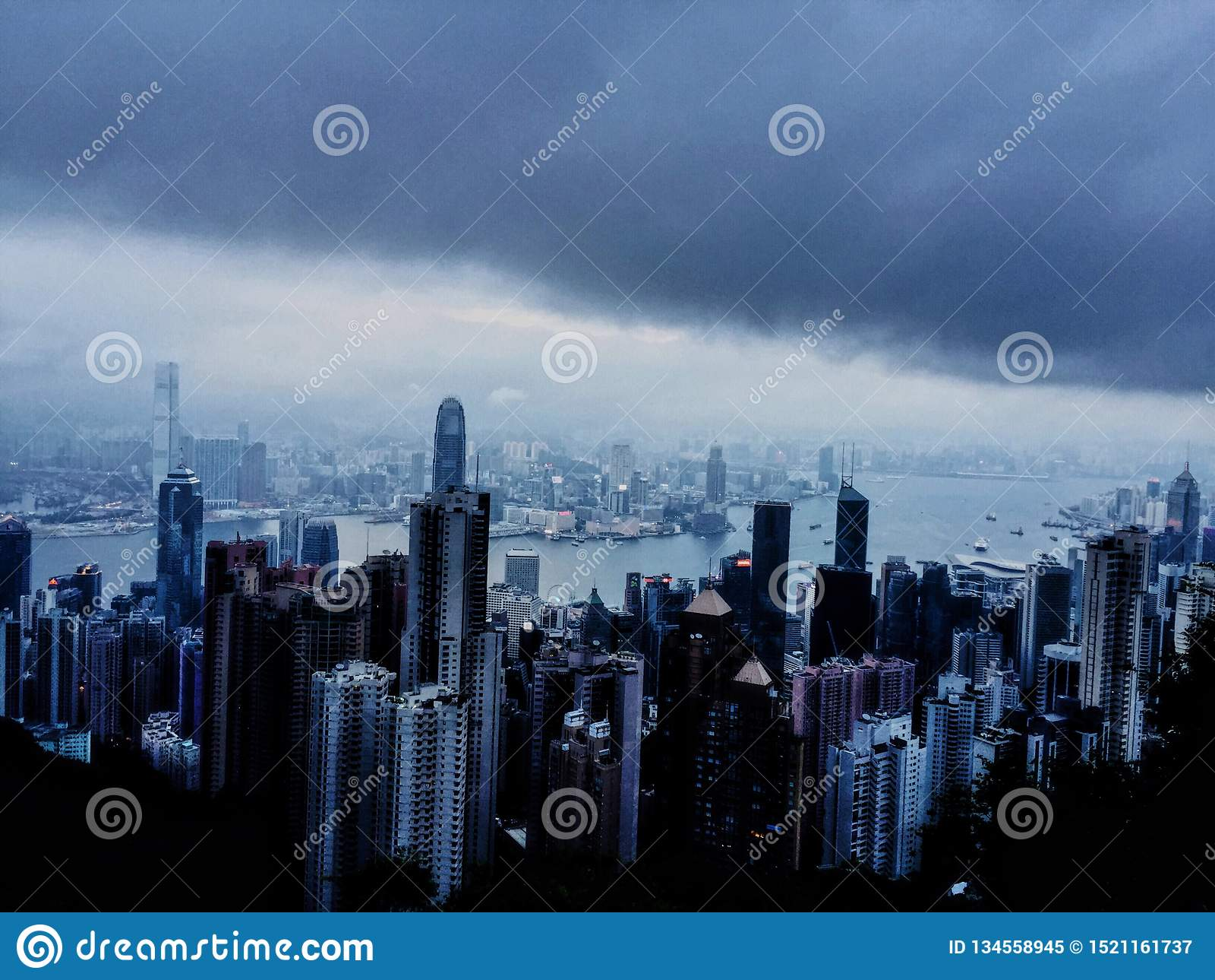 Na parte superior de Hong Kong