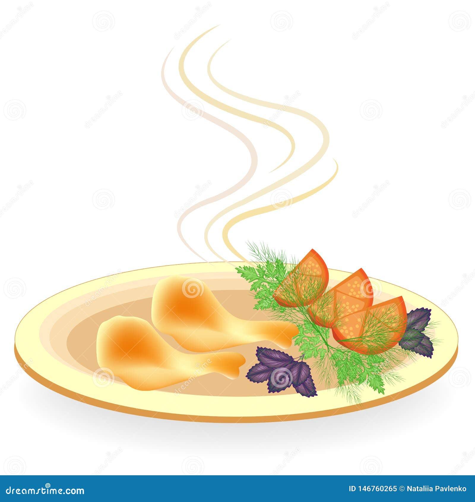 Na placa ? o pil?o da carne da galinha Batatas da guarnição com tomate, aneto dos verdes, manjericão e salsa Saboroso e nutritivo