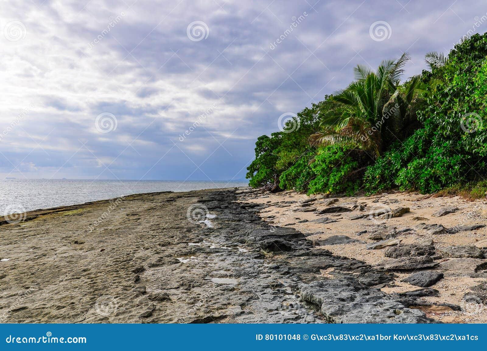 Na praia da ilha da recompensa em Fiji
