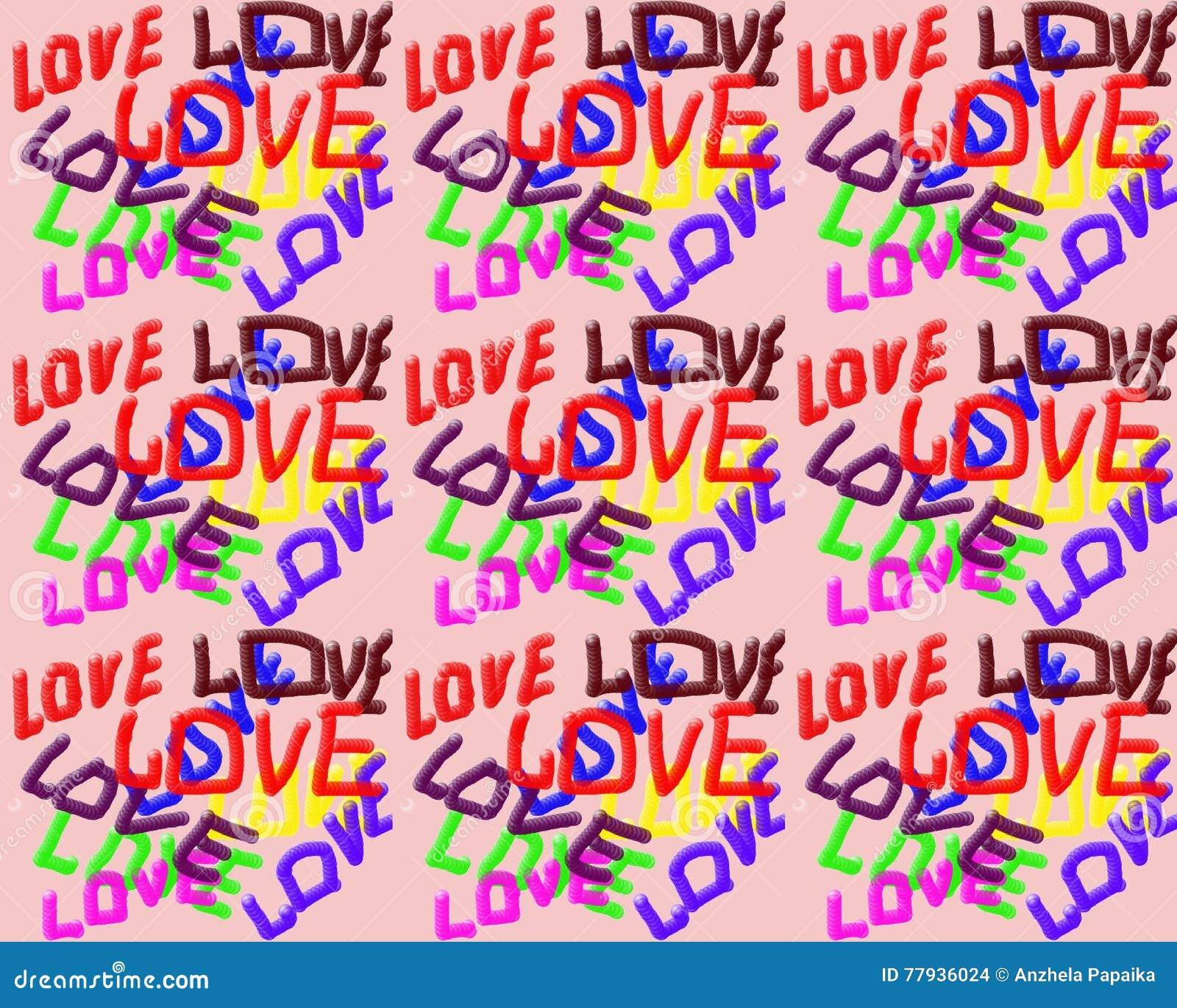 Na różowym tle słowo miłość pisać w różnych kolorach