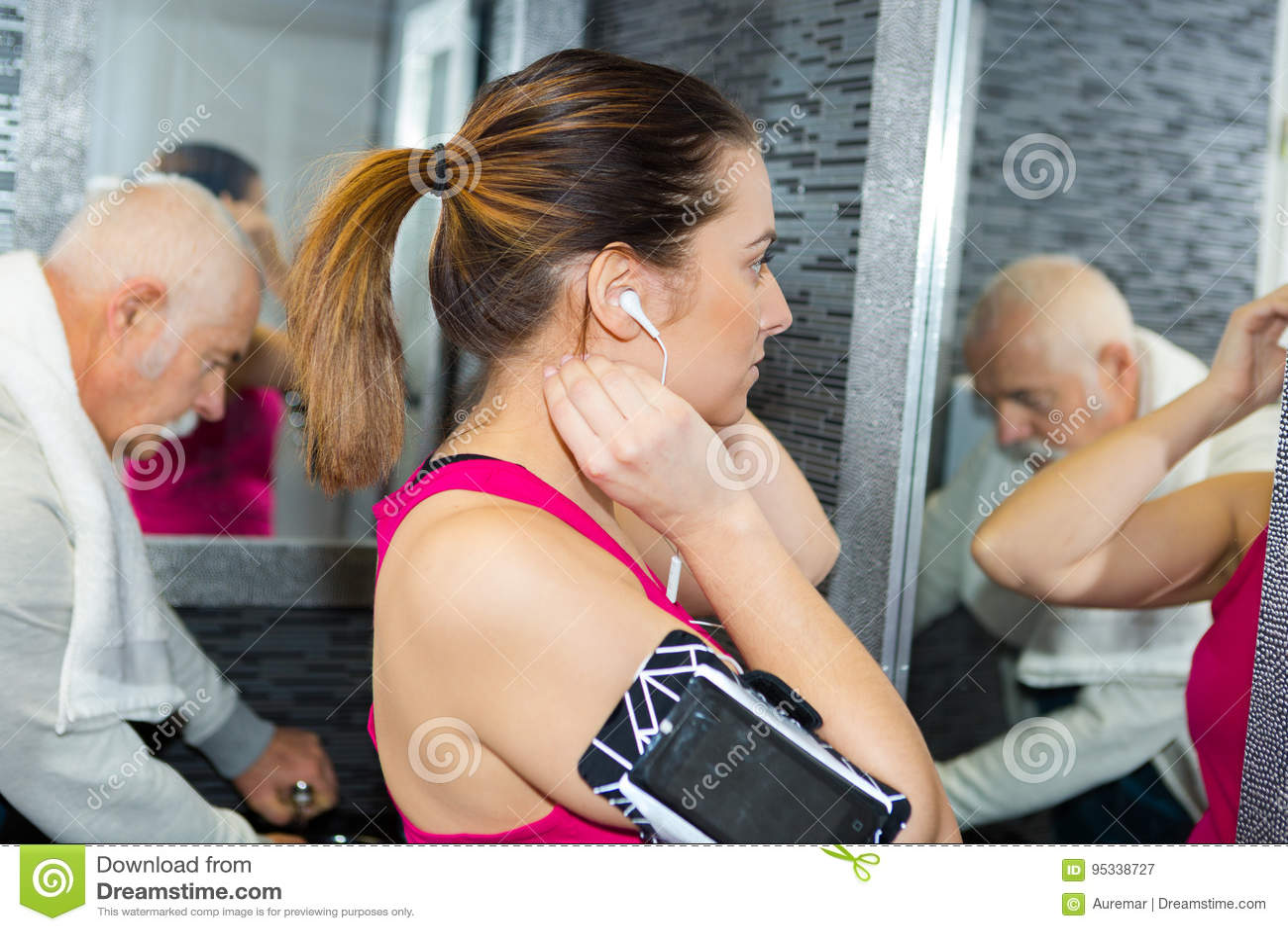 Na sala de lavagem dos gyms