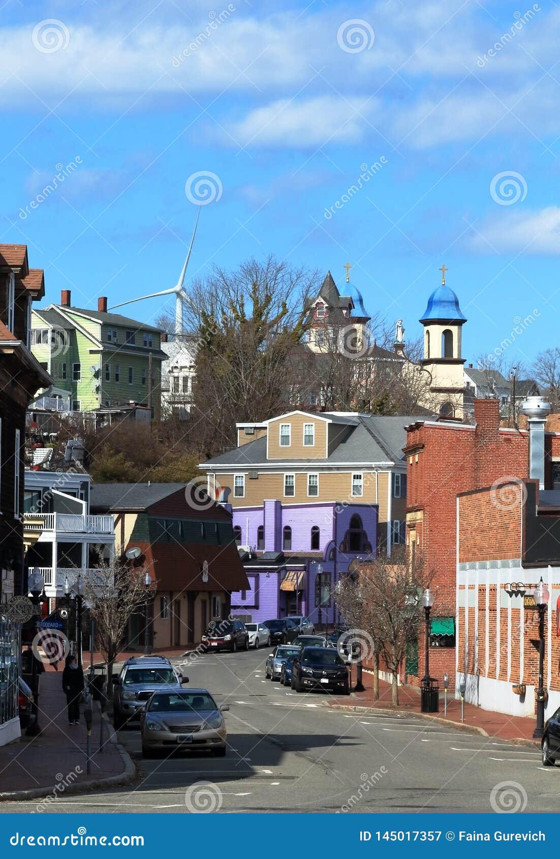 Na ulicie Gloucester, Massachusetts wielki miasto przylądek Ann