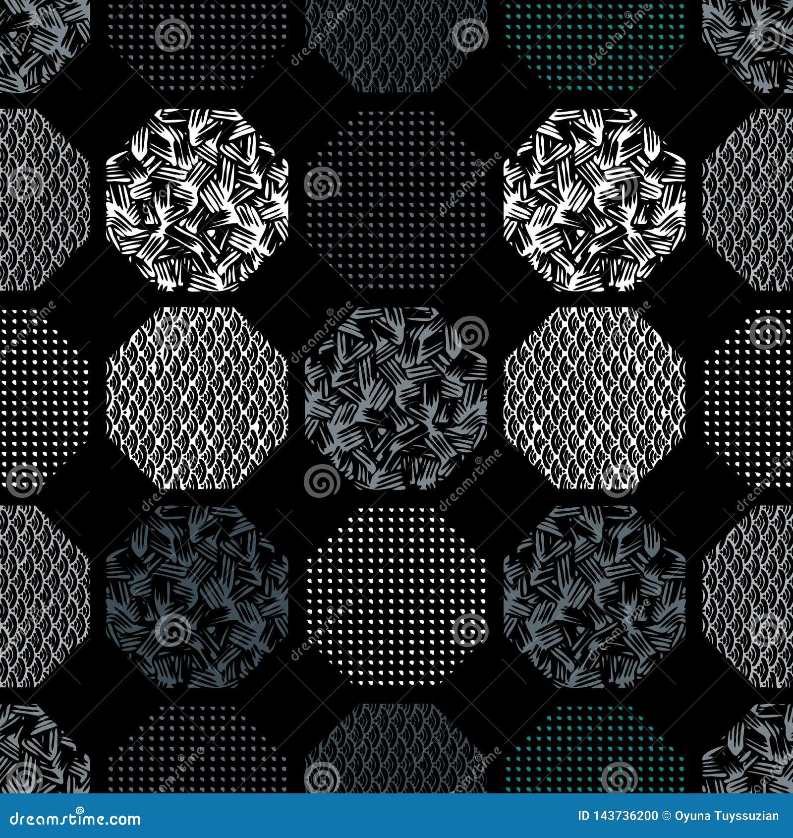 Naadloos abstract retro geometrisch patroon Gevormde, geweven zeshoeken in geometrische lay-out