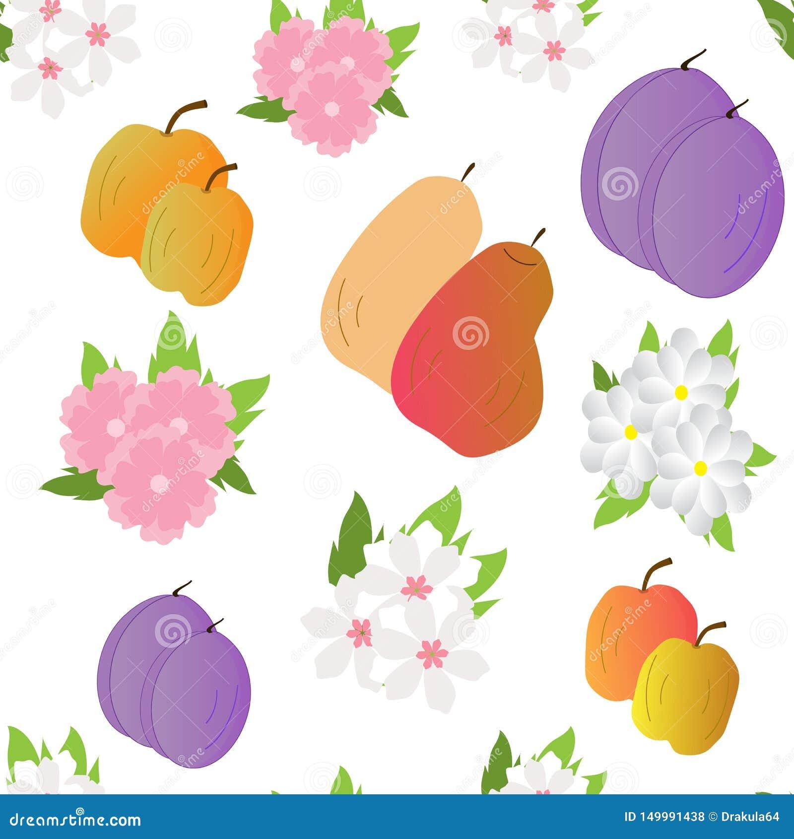 Naadloos-achtergrond-met-fruit-en-bloemen