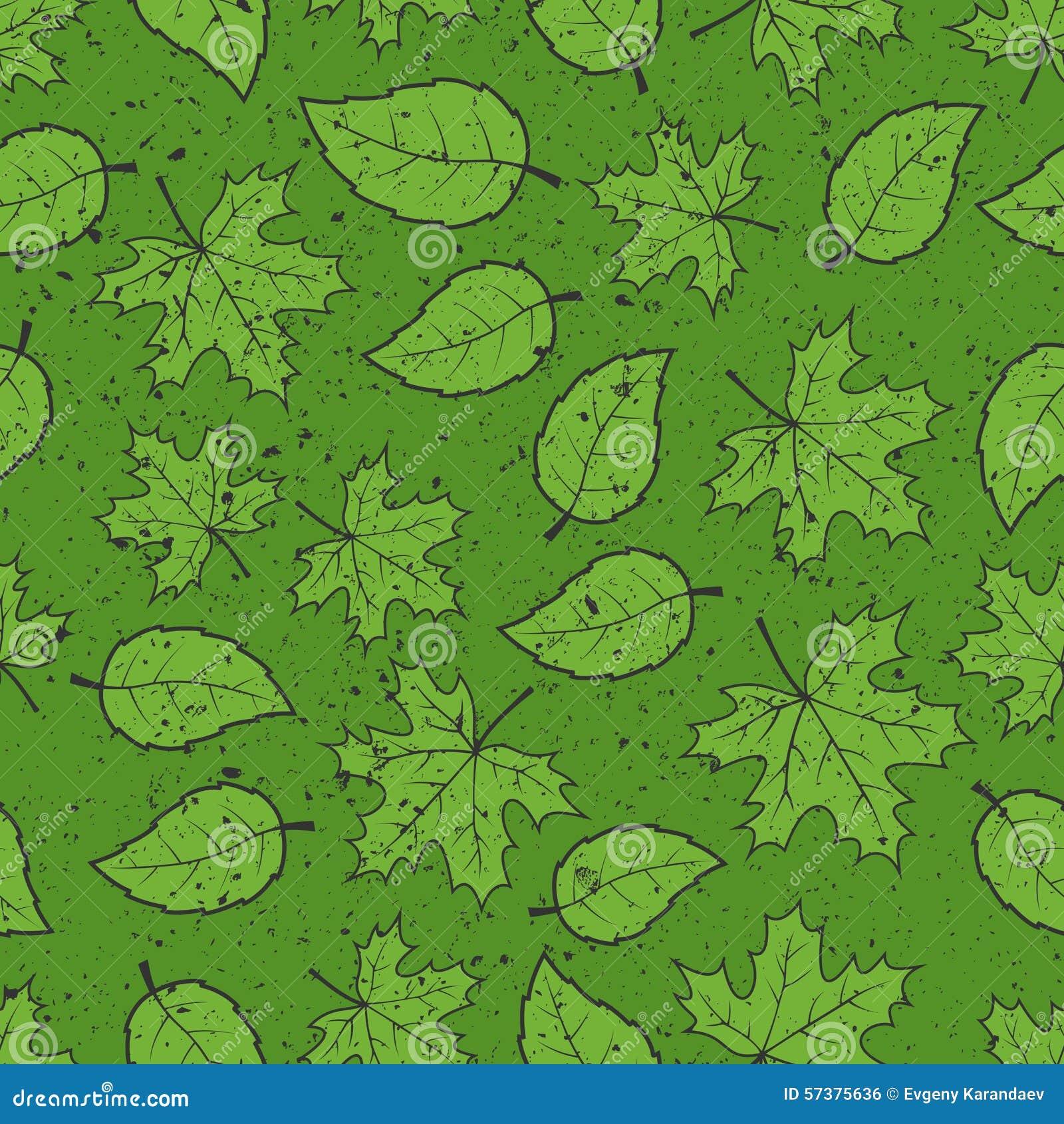 Naadloos bladeren grunge patroon