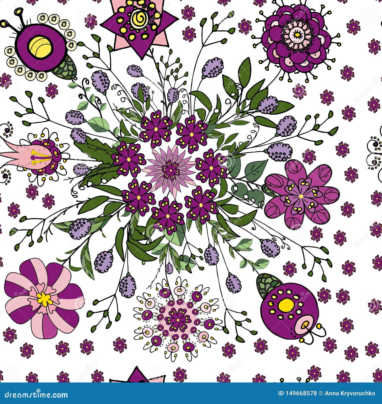 Naadloos bloemenpatroon in etnische fantasiestijl in violette en groene kleuren voor het verfraaien van groetkaarten, die tot tex