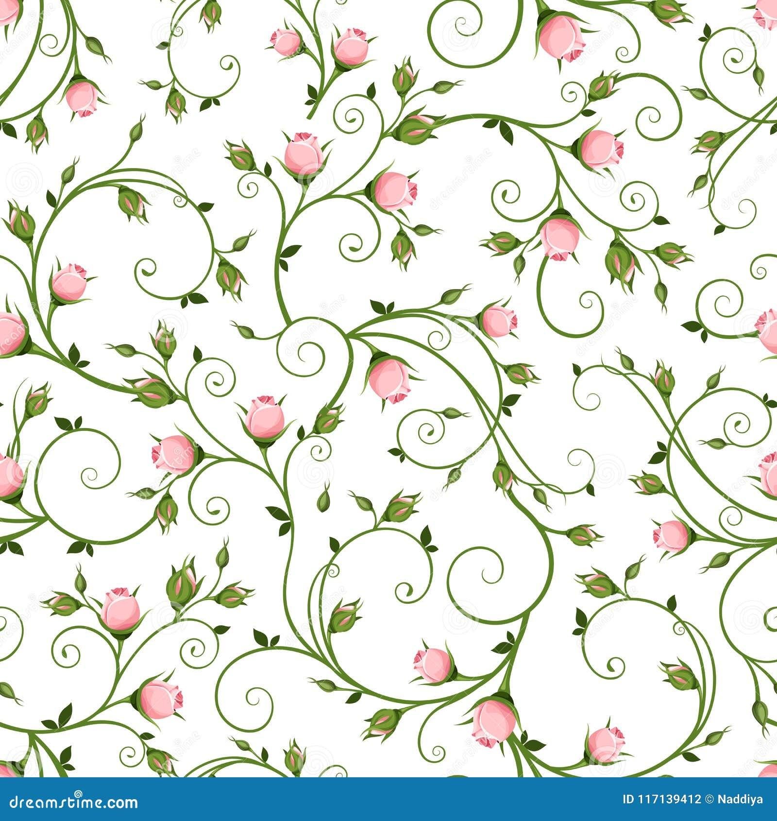 Naadloos bloemenpatroon met roze rosebuds Vector illustratie