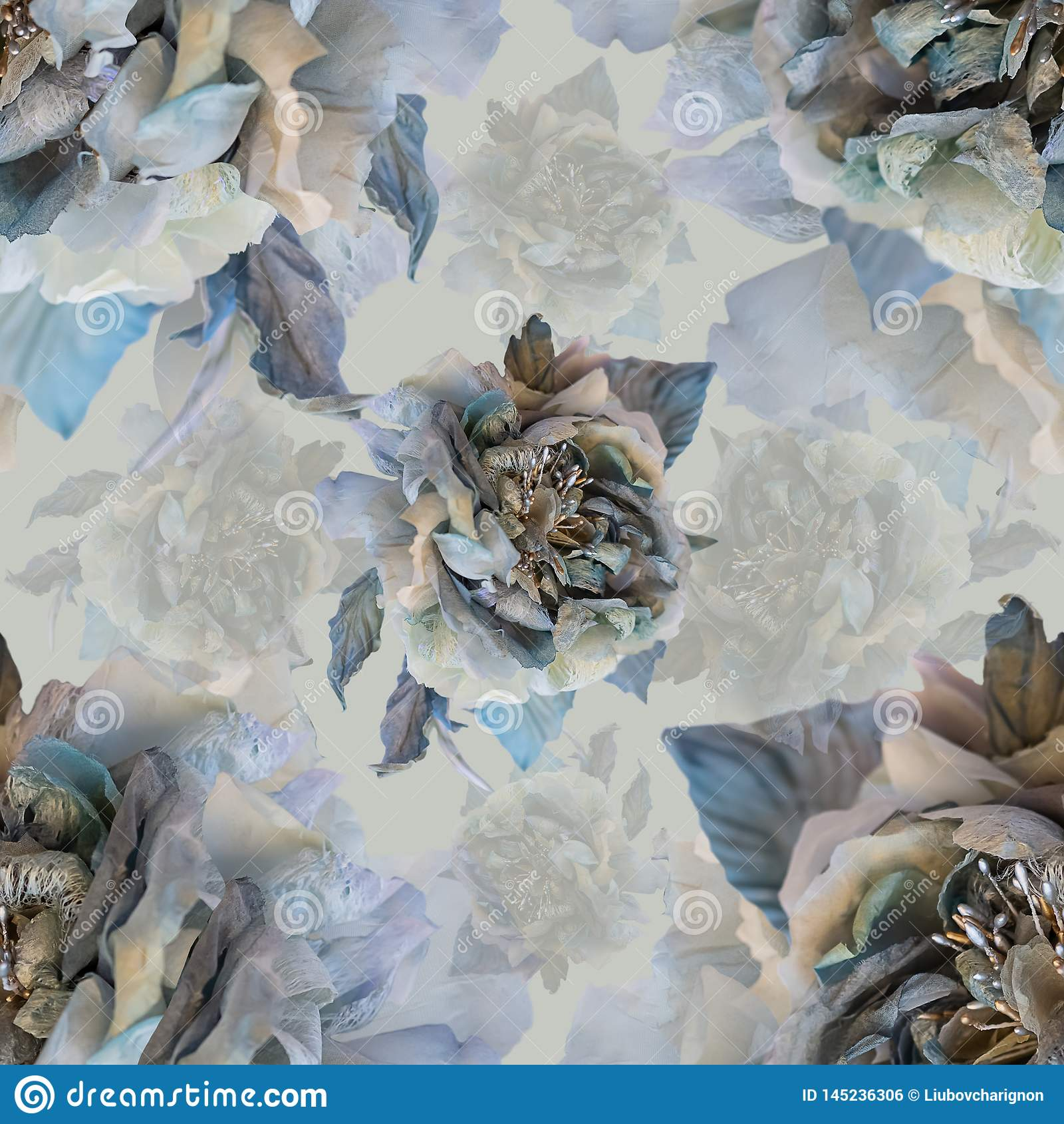 Naadloos bloemenpatroon met zijde grijze rozen Het patroon van bloemen