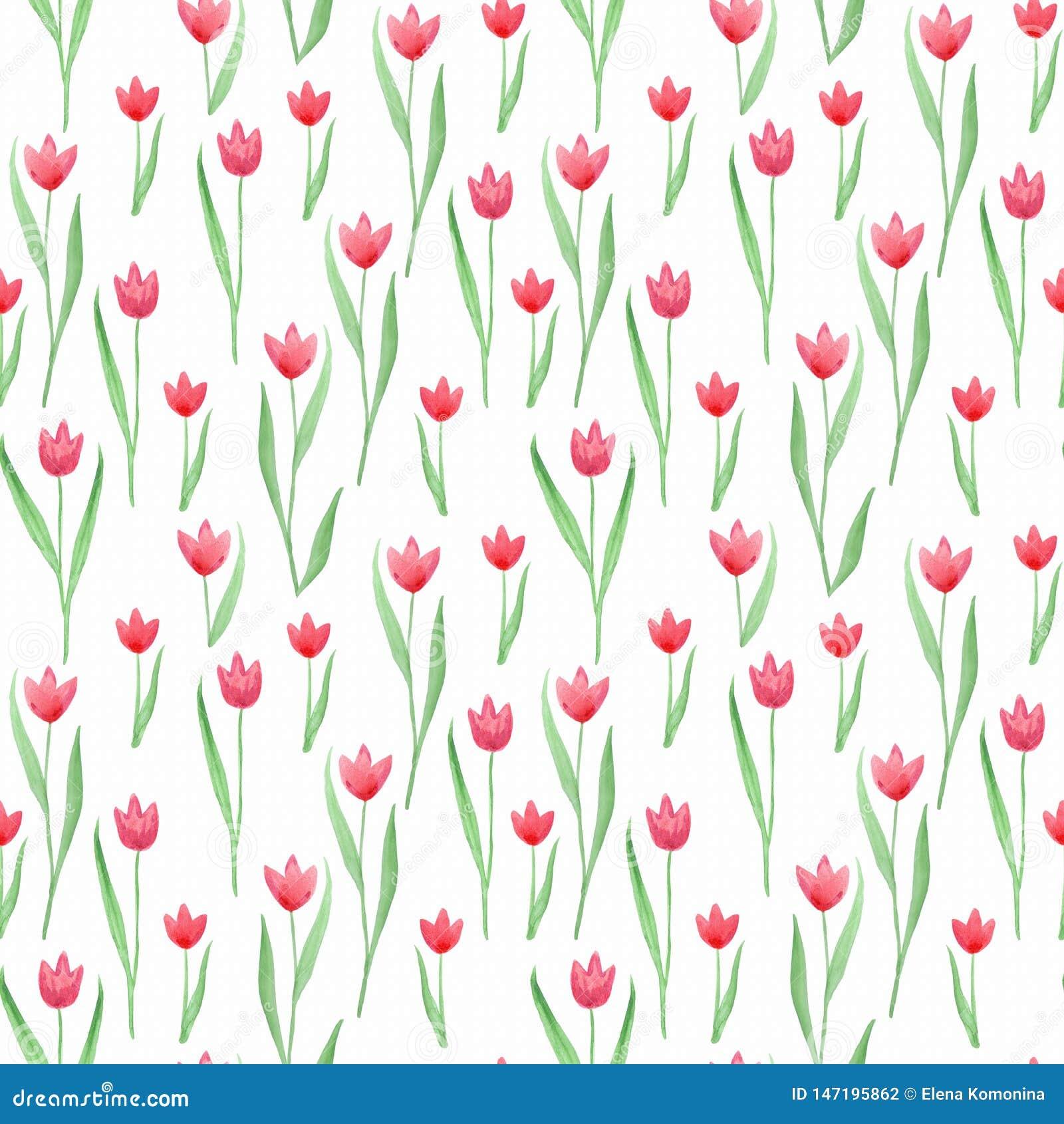 Naadloos bloemenpatroon in roze, groene, rode kleuren Tulpen
