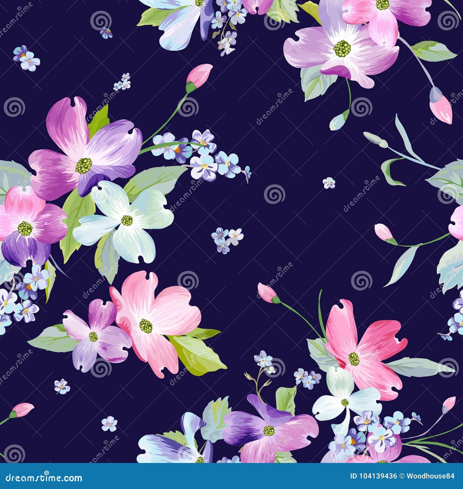 Naadloos bloemenpatroon Waterverf Bloemenachtergrond voor Huwelijksuitnodiging, Stof, Behang, Textiel