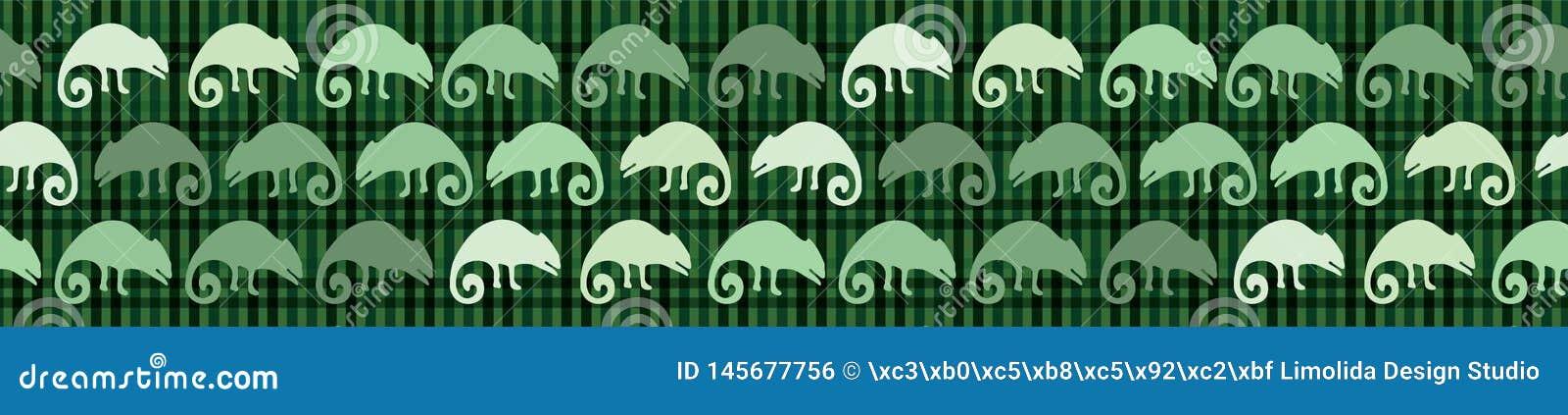 Naadloos de grenspatroon van de kameleonhagedis Groene reptiel herhaalbare vectorillustratie
