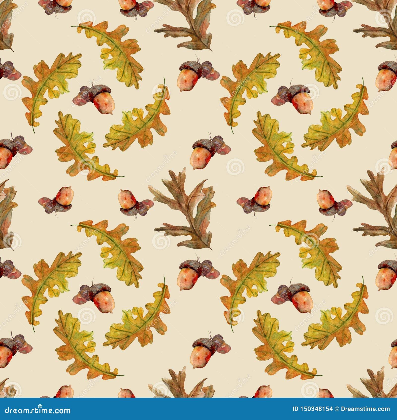 Naadloos de herfstpatroon met bladeren