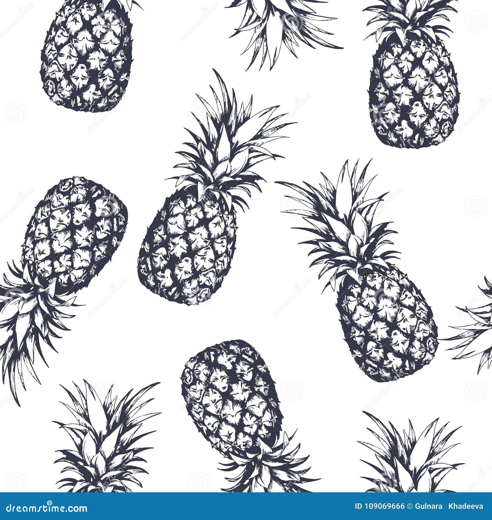 Naadloos die patroon met ananassen, hand in grafische stijl wordt getrokken Vector illustratie
