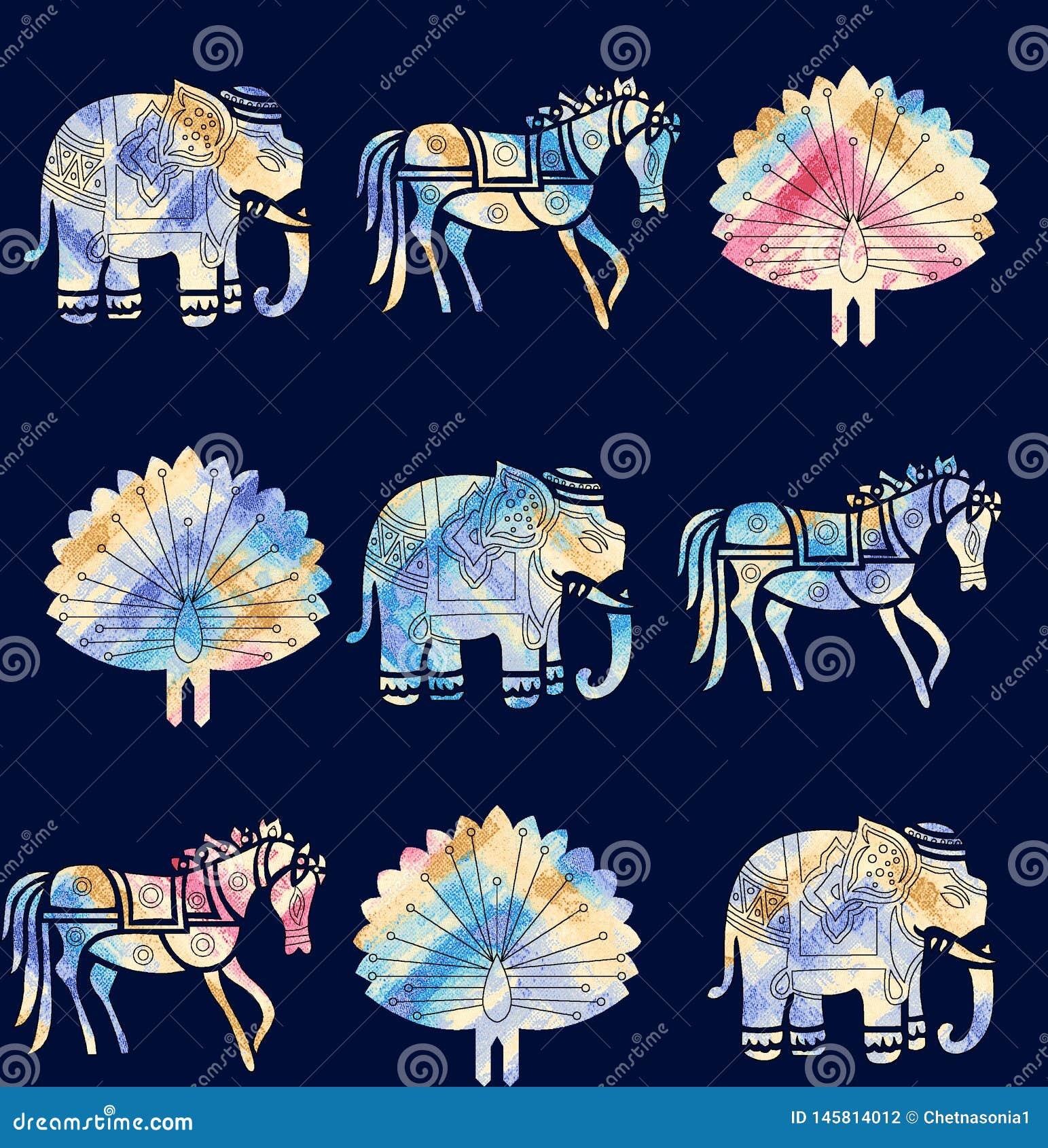 Naadloos dierlijk motiefpatroon met marinekleur