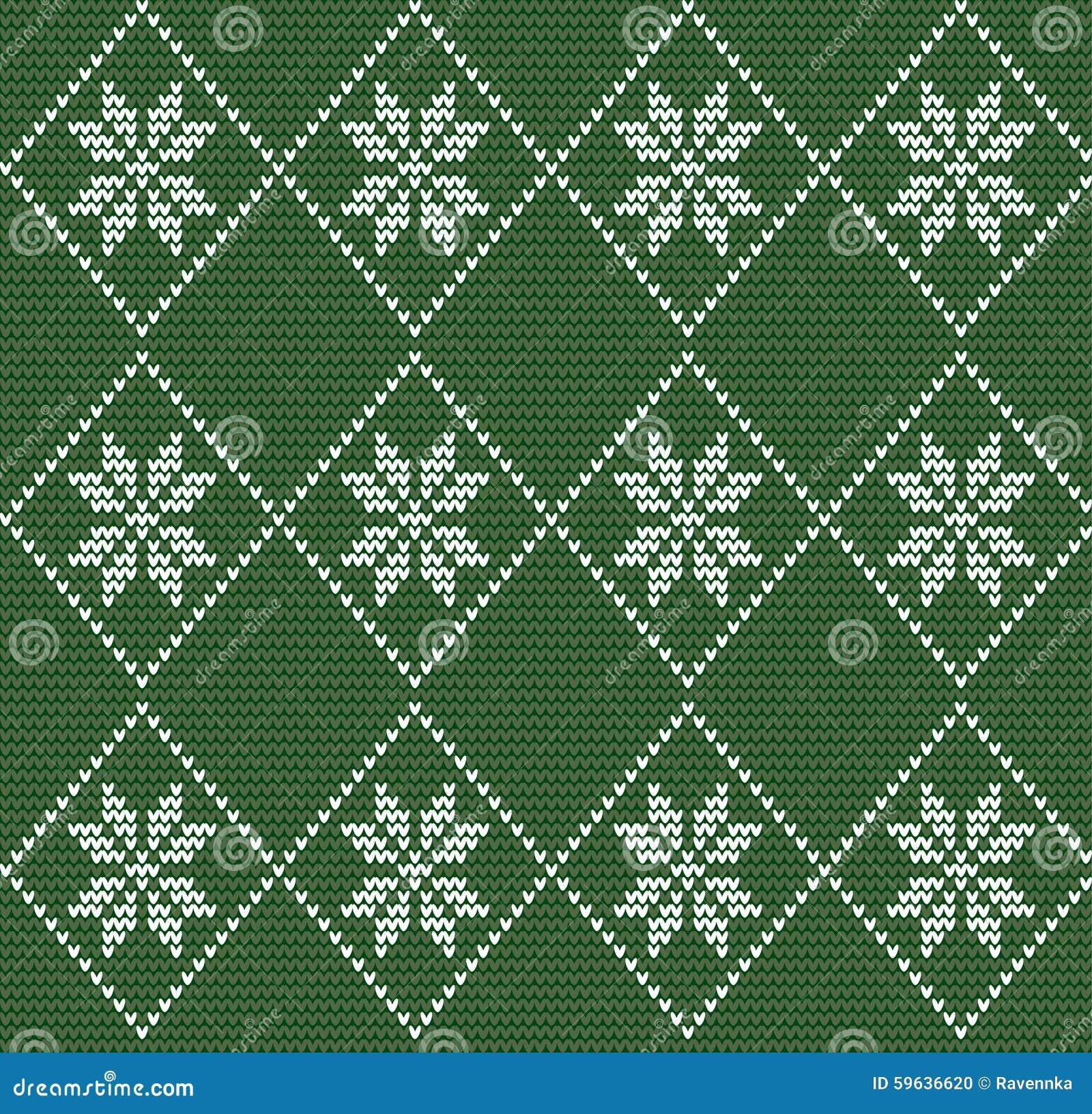 Naadloos gebreid patroon in noordse stijl met witte sneeuwvlokken o