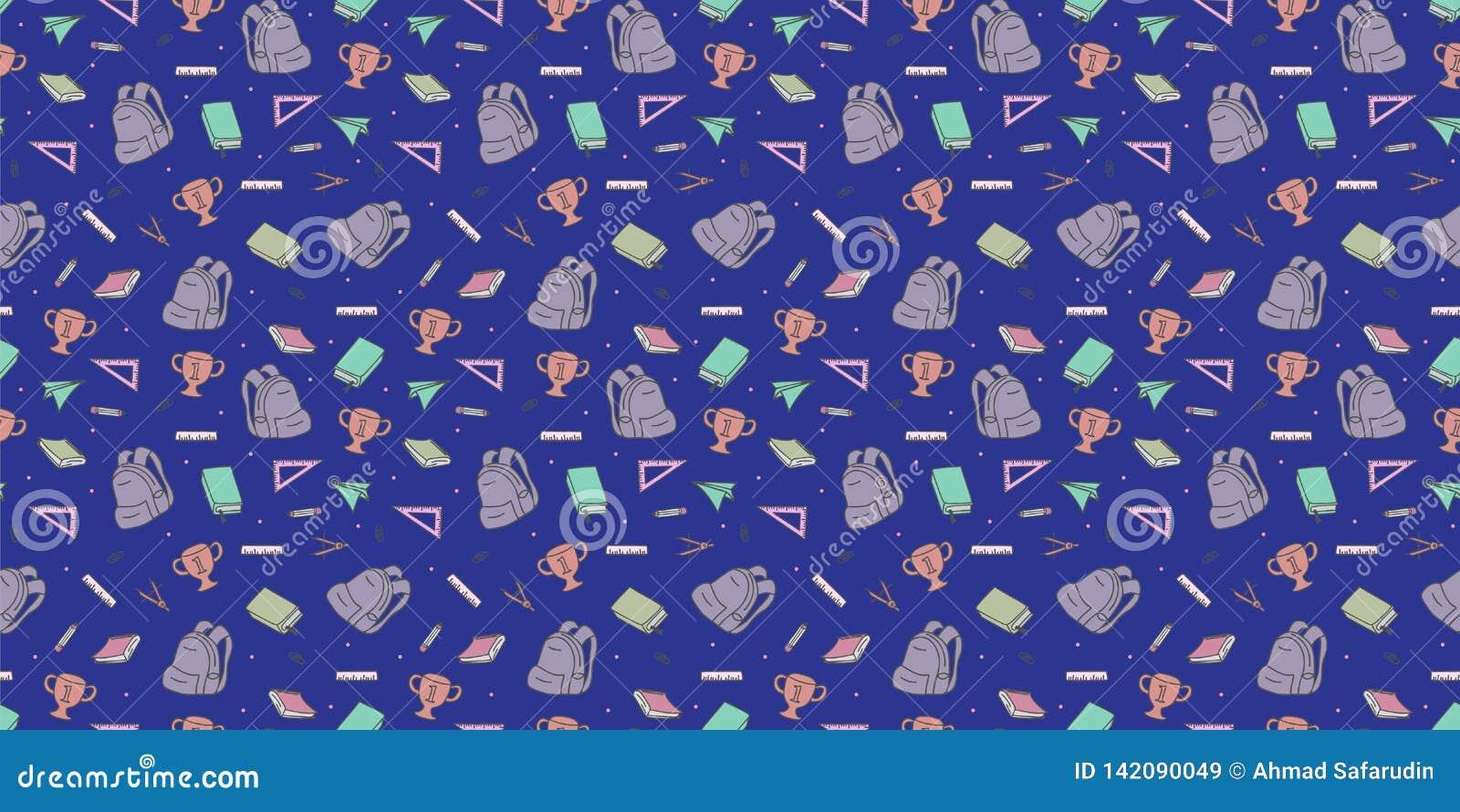 Naadloos gekleurd terug naar schoolpatroon met de krabbeltekening van leverings stationaire en creatieve elementen Kleurrijke leu