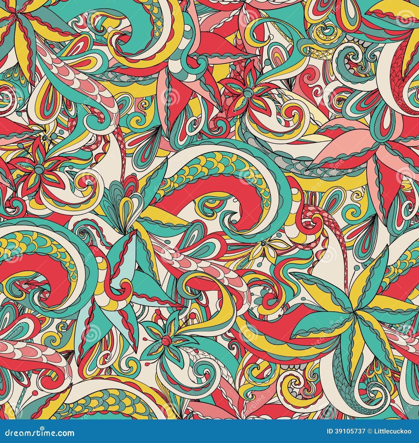 Naadloos hand-drawn patroon, bloemenachtergrond