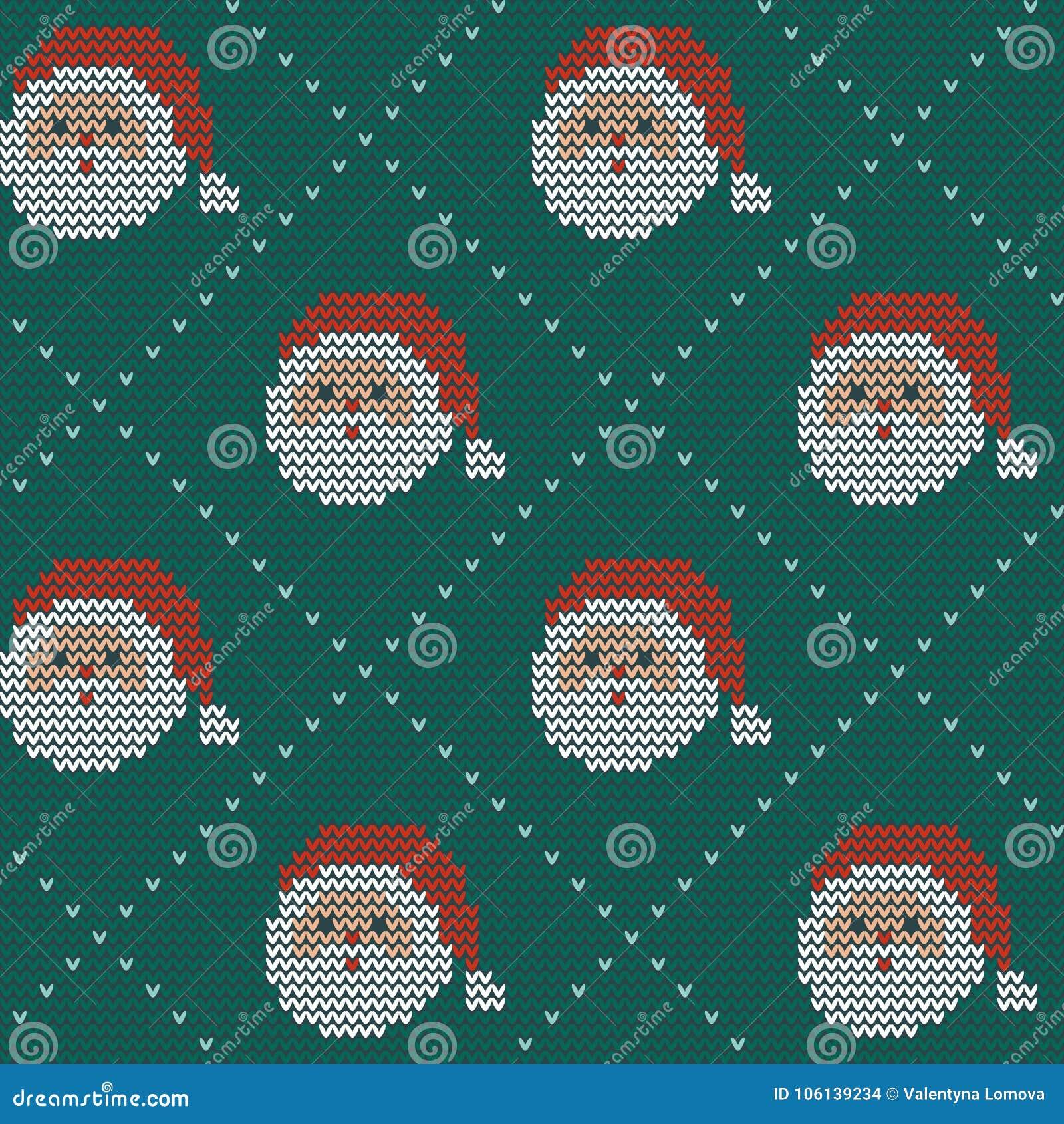 Naadloos Kerstmis noords breiend vectorpatroon met Selburose en decoratieve elementen