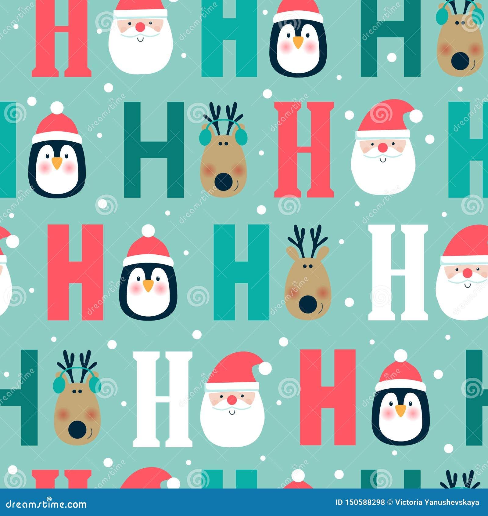 Naadloos Kerstmispatroon met herten, pinguïn en het hoofd van de Kerstman ho ho ho,