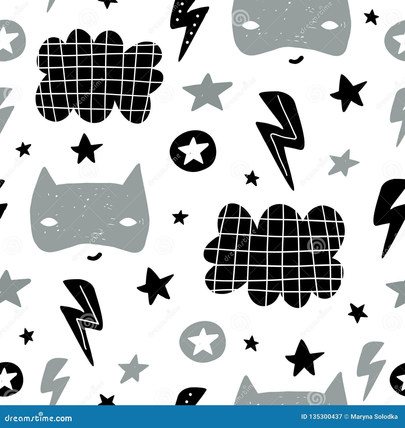 Naadloos kinderachtig patroon met leuk heldenmasker, flas, ster, wolk Creatieve jonge geitjestextuur voor stof, het verpakken, te