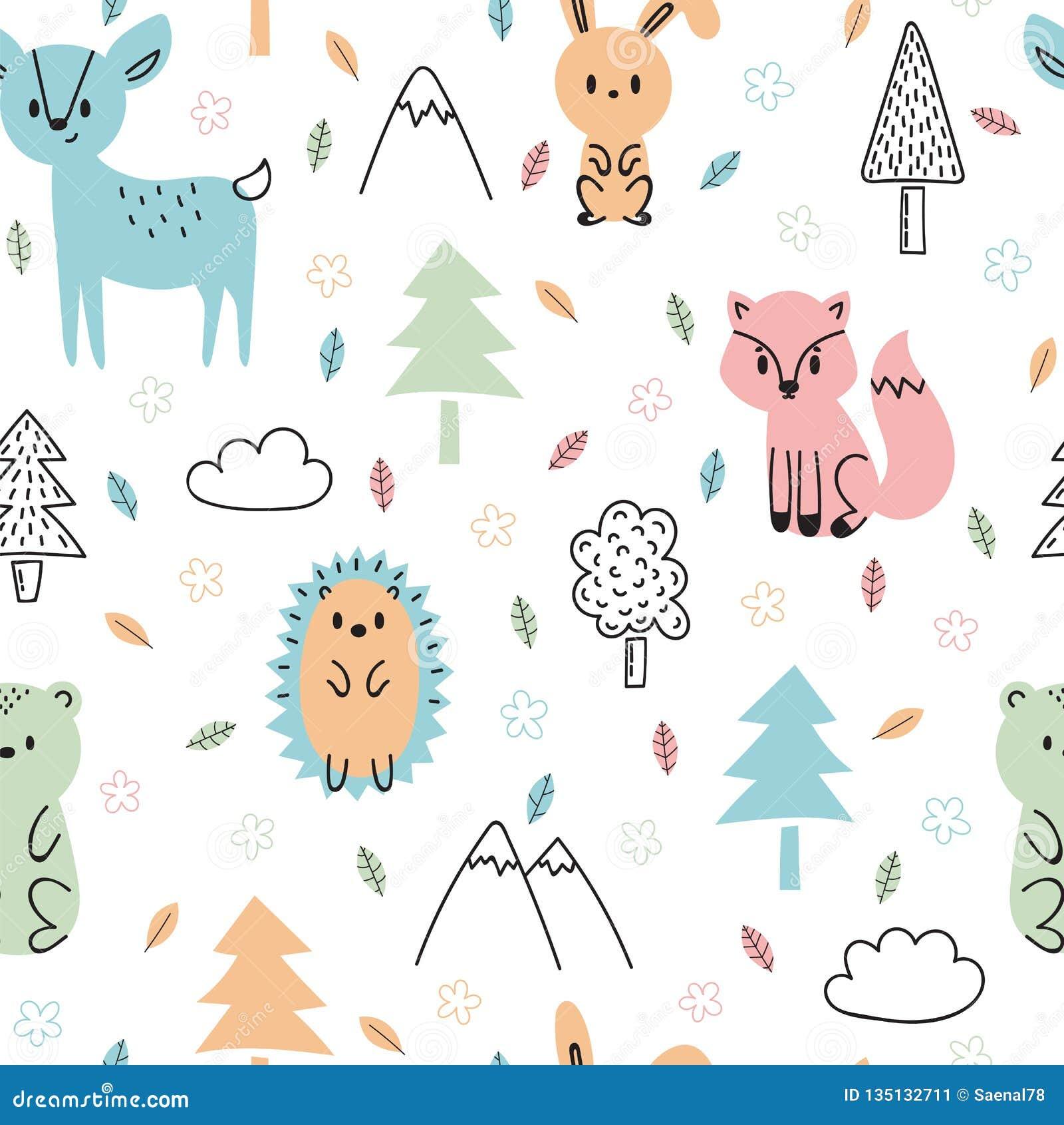 Naadloos kinderachtig patroon met leuke hand getrokken bosdieren Ontwerptextuur voor stof, het verpakken, textiel, decor Bos