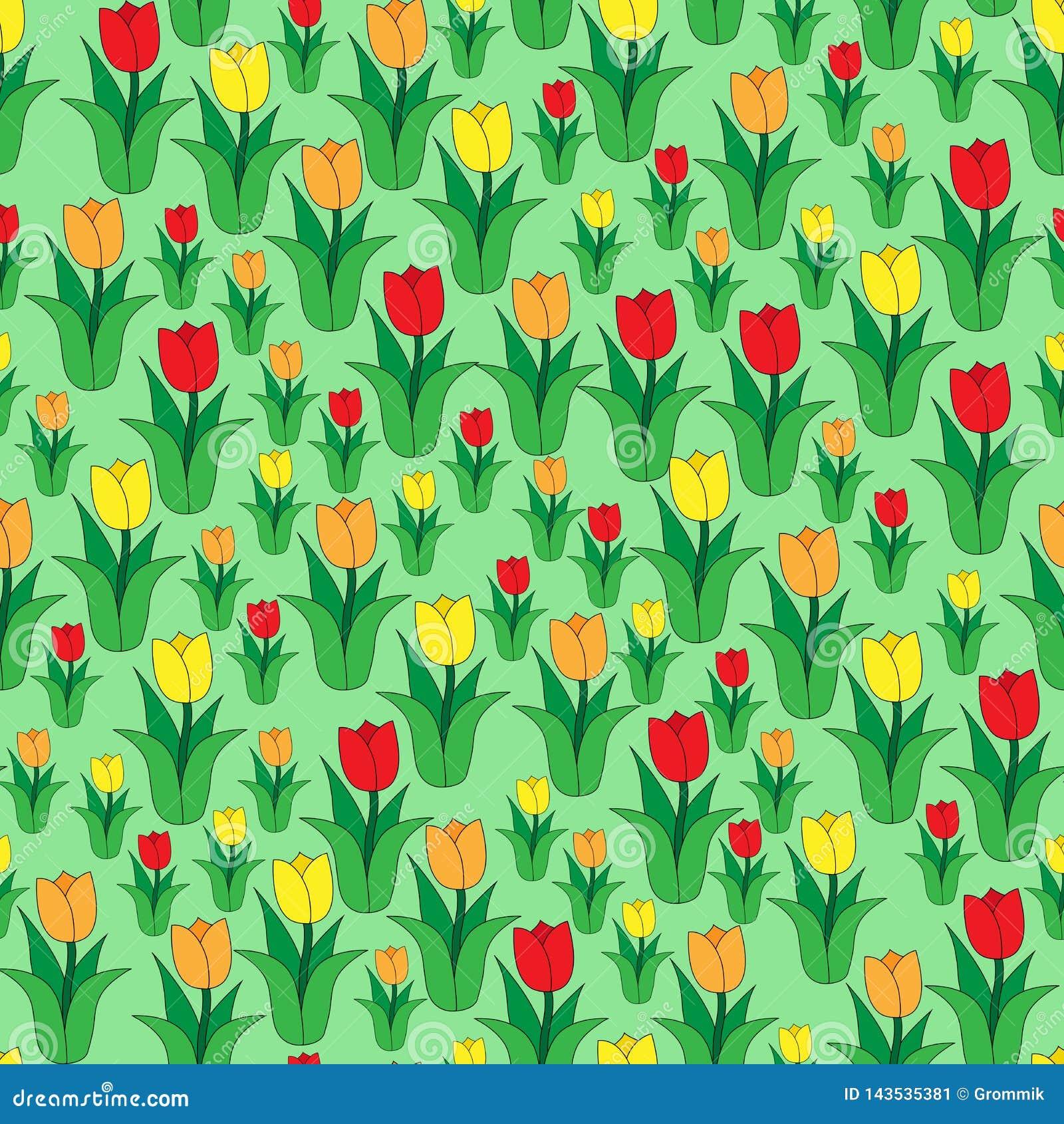 Naadloos kleurenpatroon van multi-colored tulpen