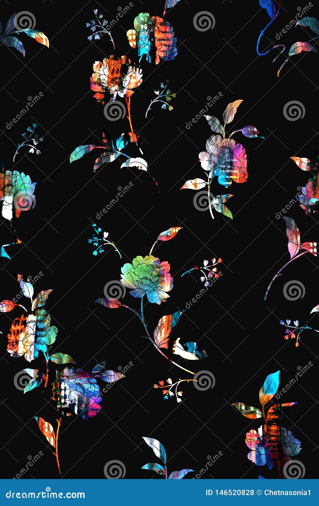 Naadloos kleurrijk bloempatroon met zwarte achtergrond