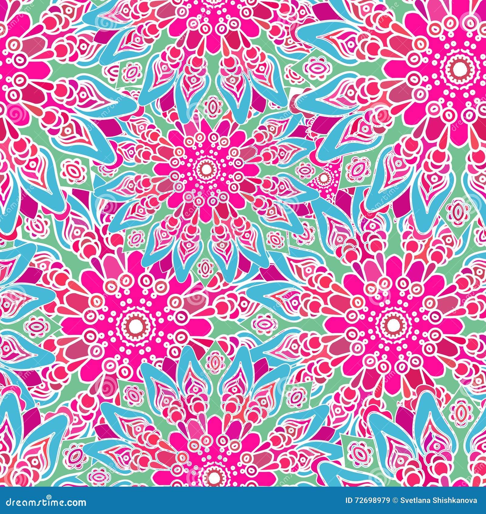 Naadloos kleurrijk patroon oosterse stijl stof of behang vector illustratie afbeelding 72698979 - Oosters stof ...
