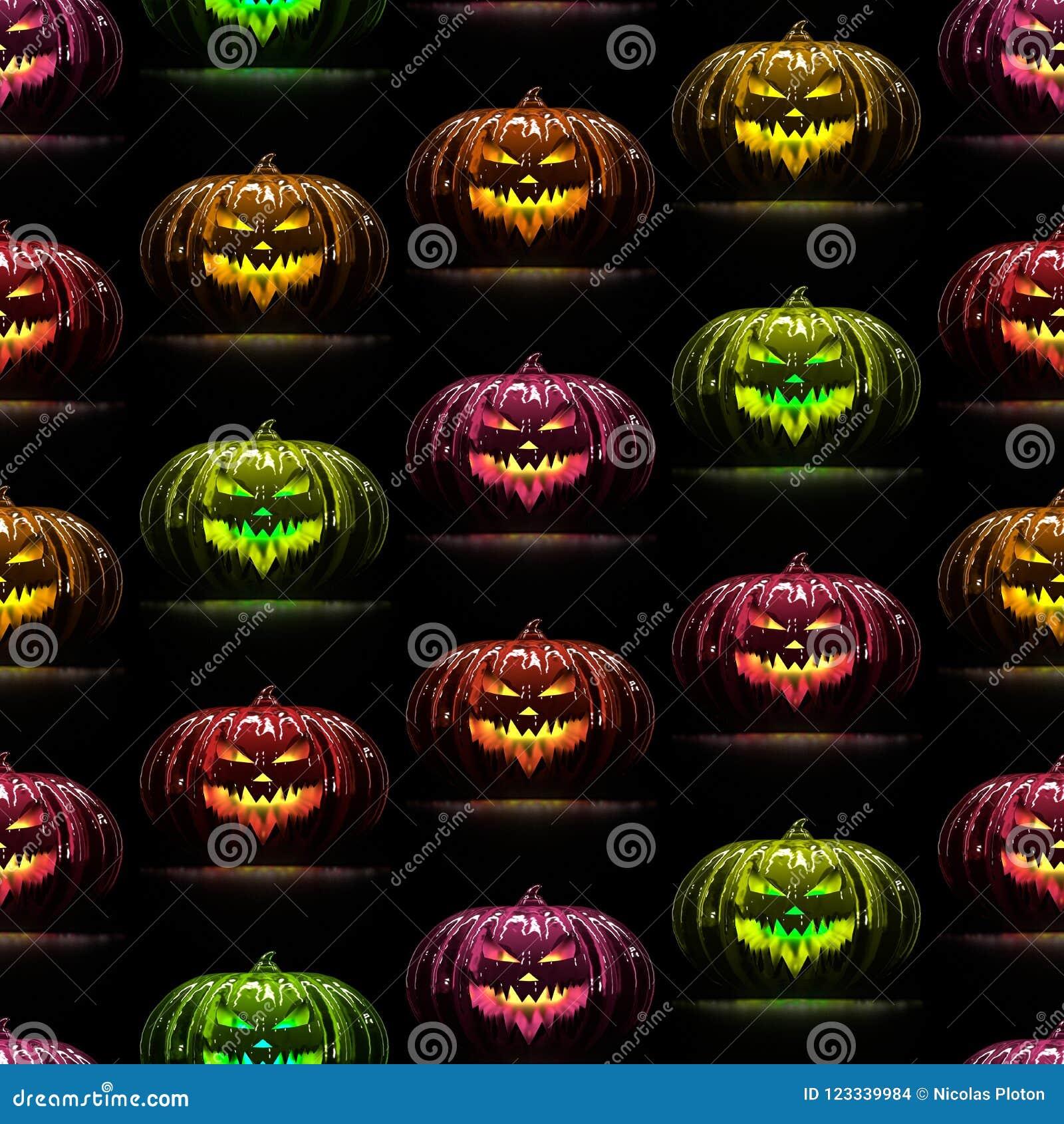Naadloos kleurrijk pompoenenpatroon 3D Illustratie
