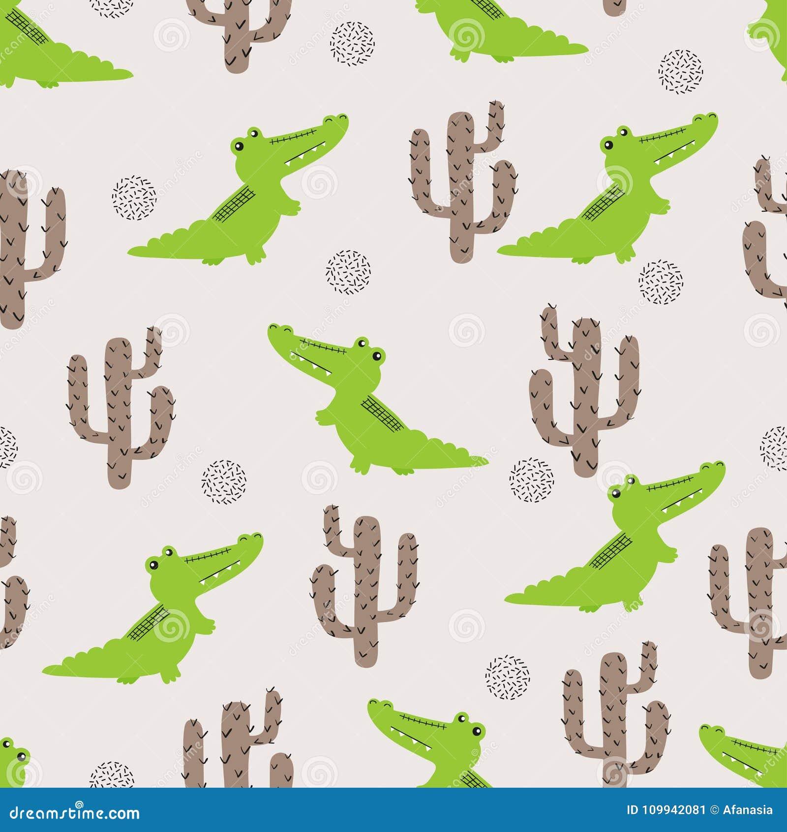 Naadloos leuk krokodil en cactuspatroon