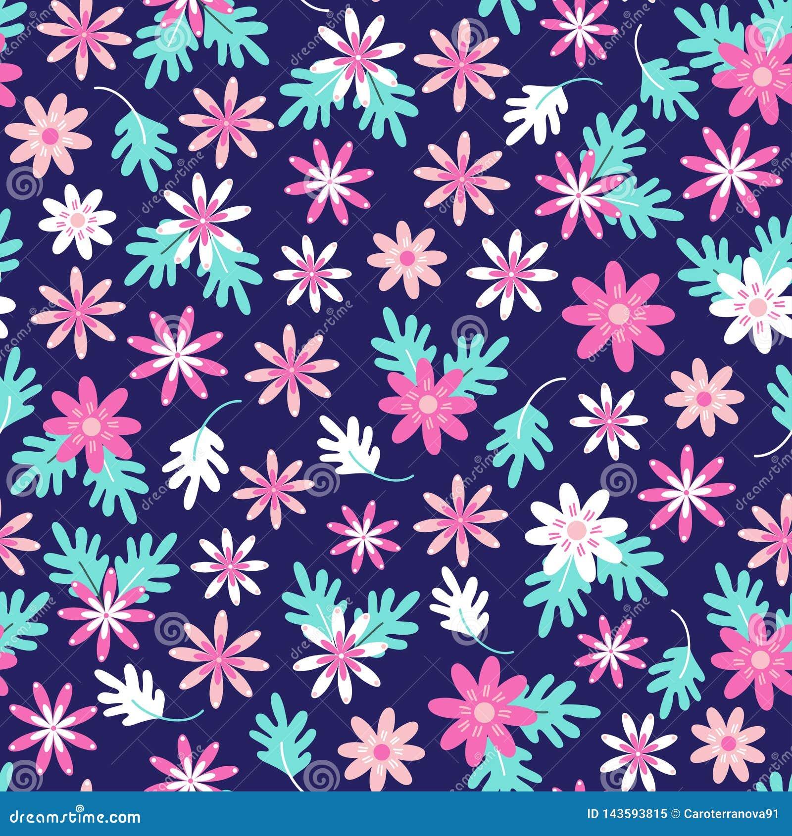 Naadloos madeliefje bloemenpatroon in Skandinavische volksstijlvector