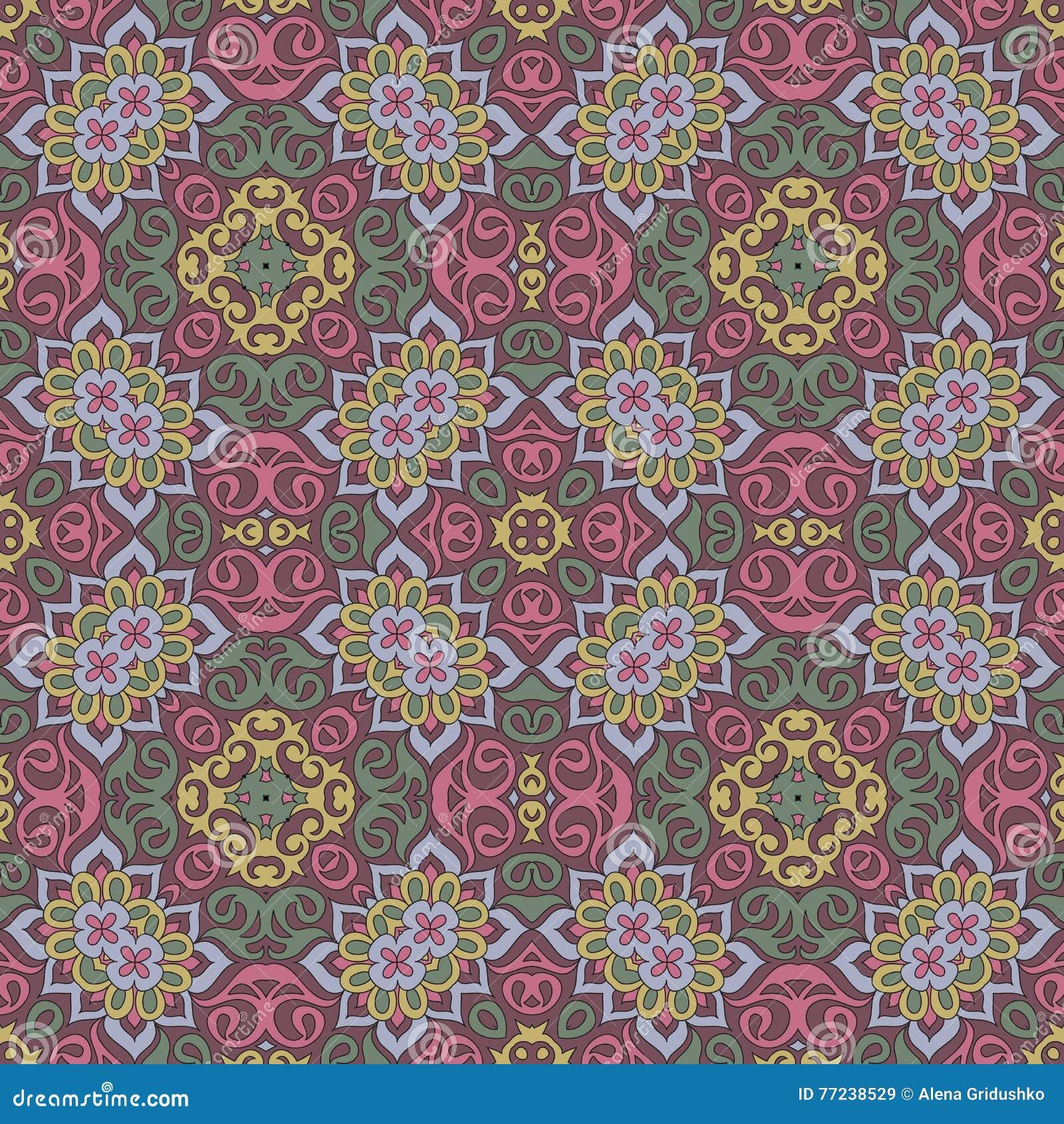 Naadloos mandalapatroon voor druk op document of stof islam en arabische motieven vector - Oosters stof ...