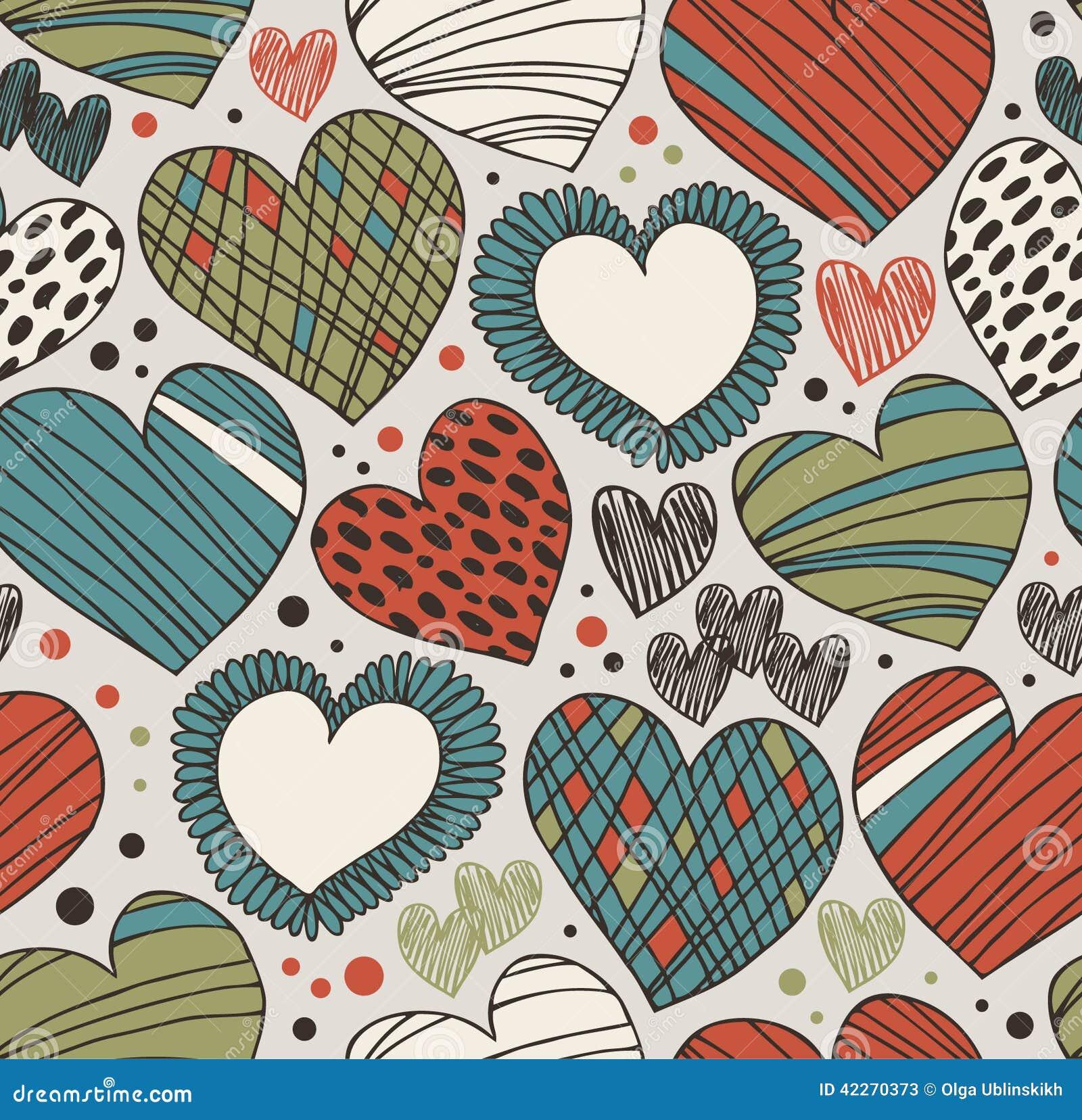 Naadloos overladen patroon met harten Eindeloze hand getrokken leuke achtergrond