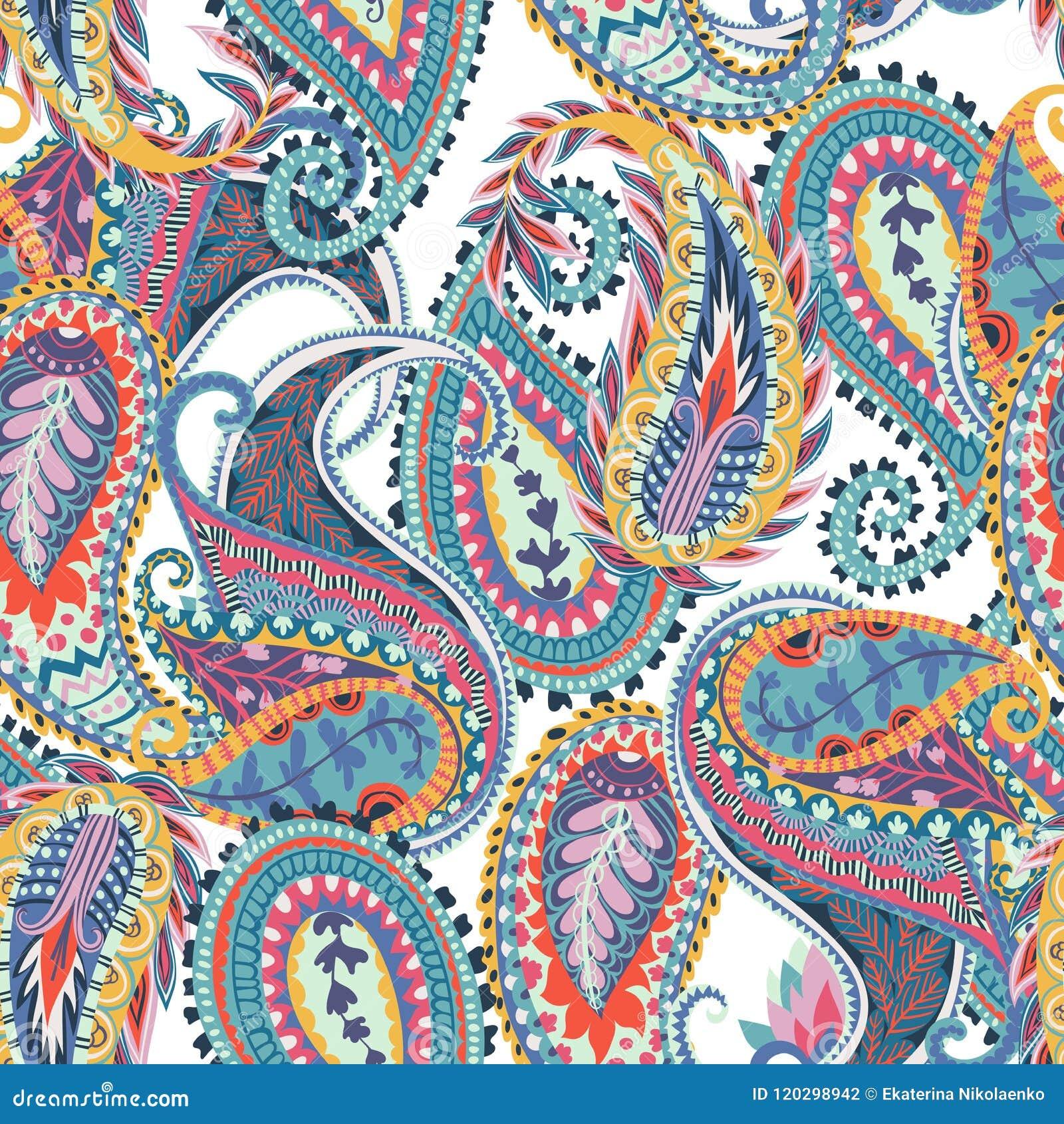 Naadloos Paisley patroon Oosters ontwerp voor stof, drukken, verpakkend document, kaart, uitnodiging, behang