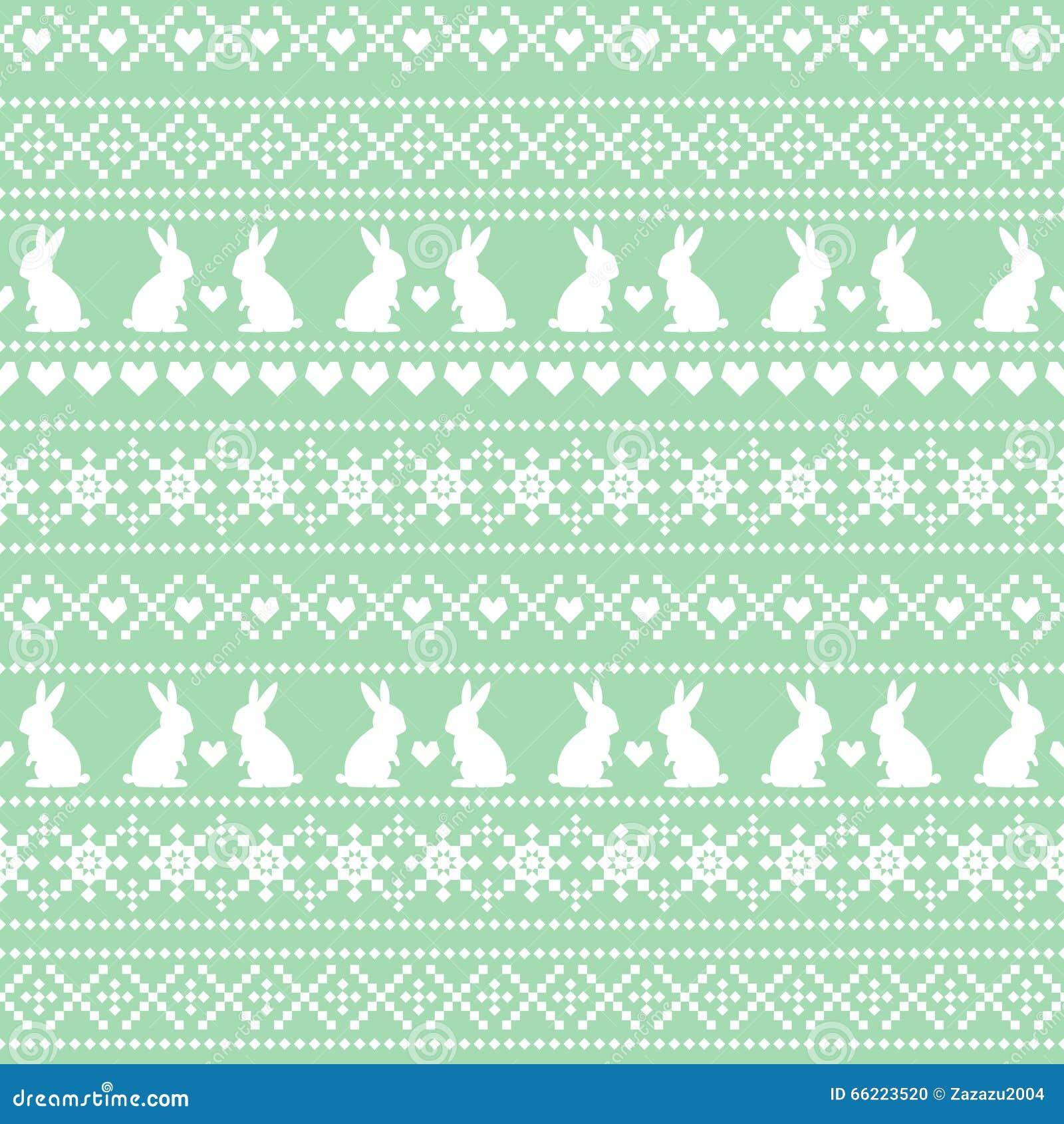 Naadloos Pasen-patroon, kaart - Skandinavische sweaterstijl De groene en witte vectorachtergrond van de de lentevakantie