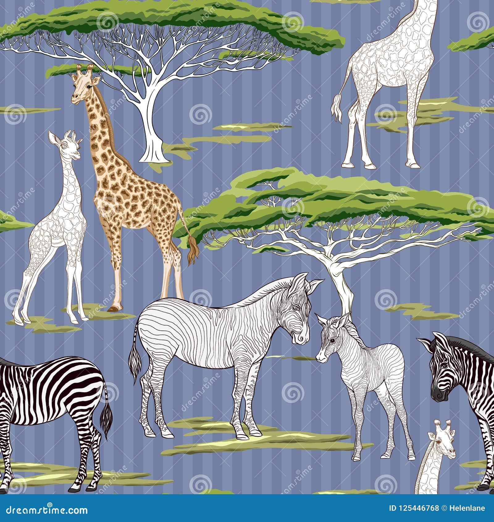 Naadloos patroon, achtergrond met volwassen zebra en giraf en zebra en girafwelpen Vector illustratie