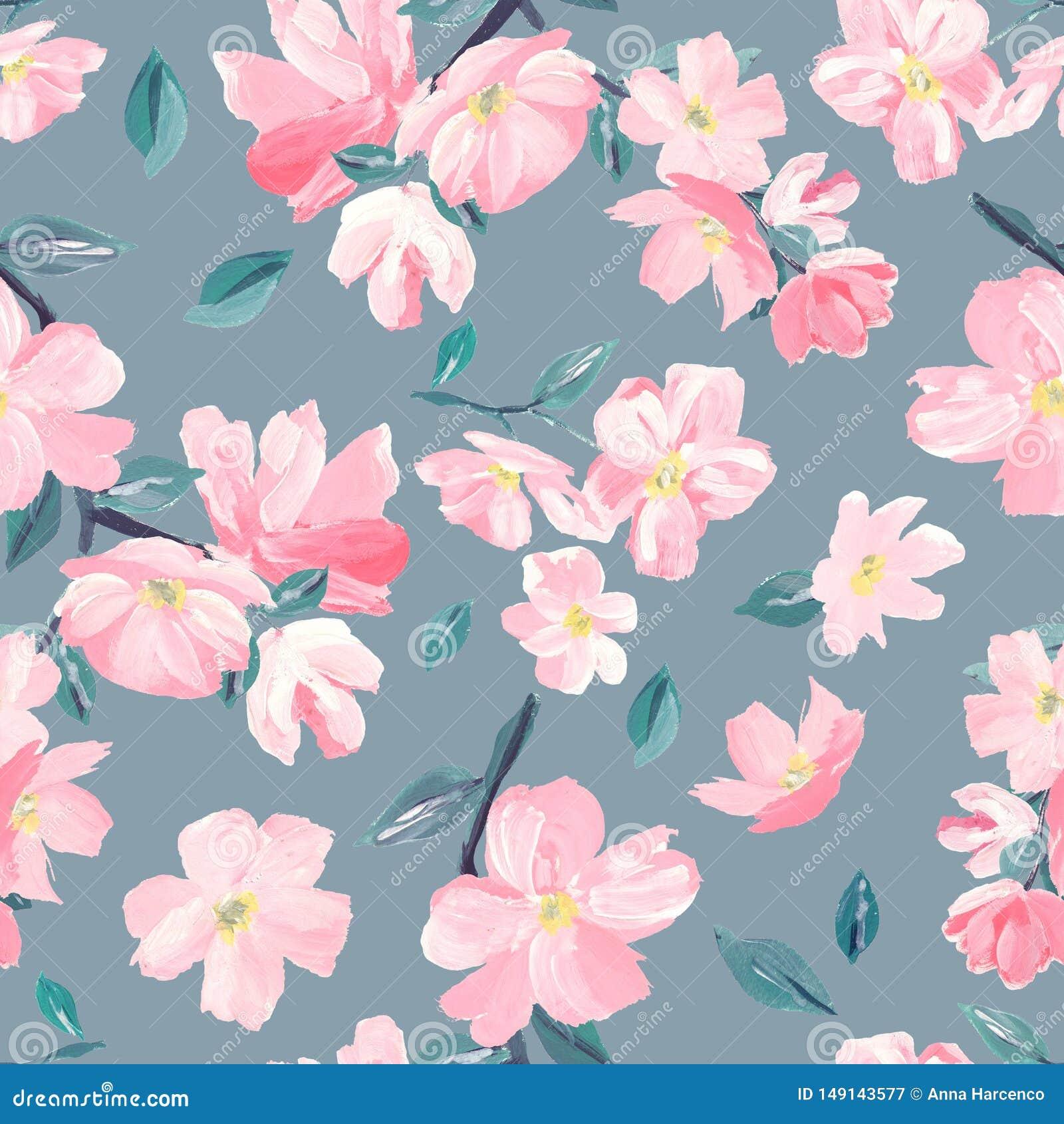 Naadloos patroon als achtergrond van roze Sakura-bloesem of Japanse bloeiende kers symbolisch van de Lente geschikt voor textiel,