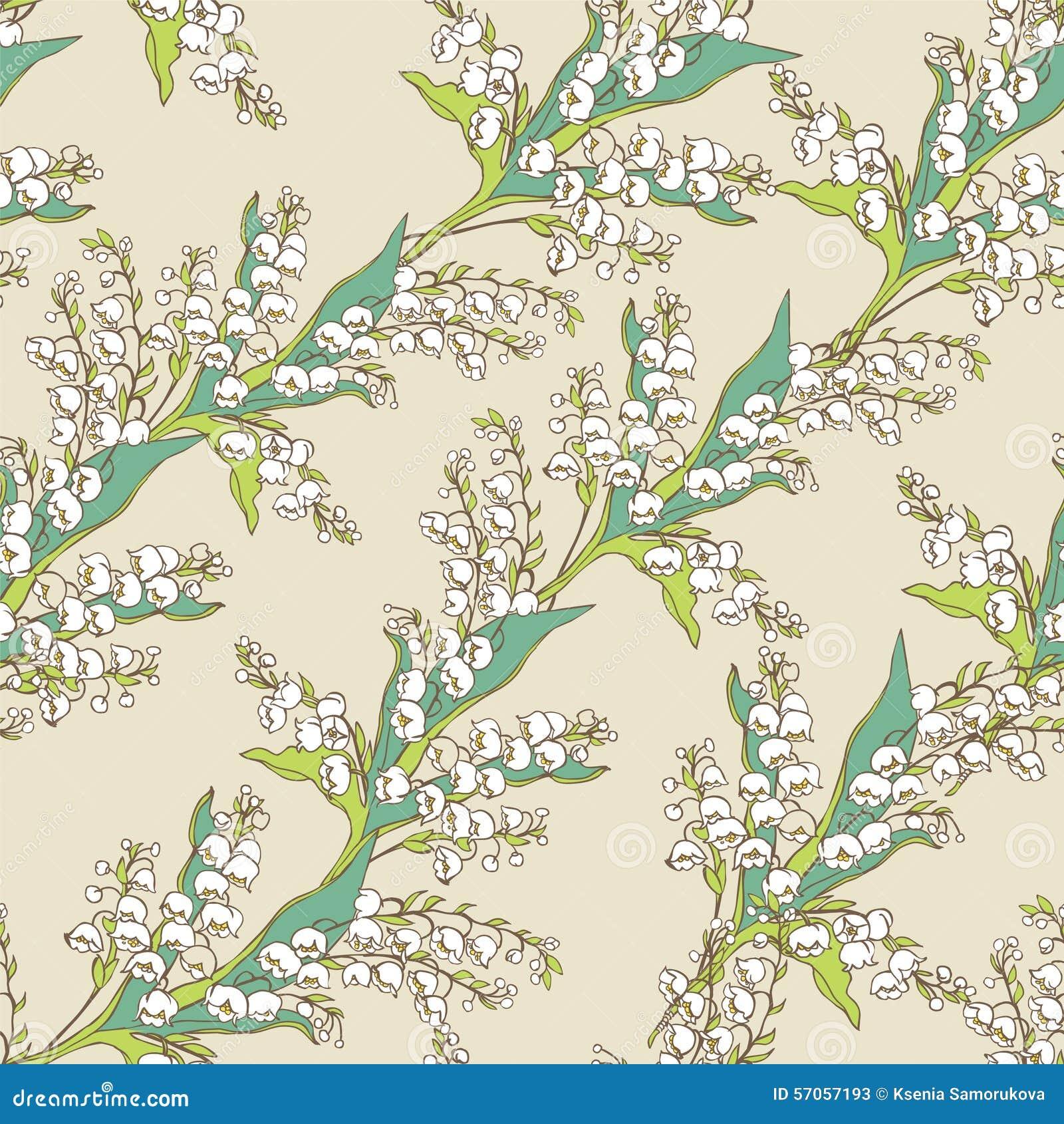 Naadloos patroon Boeketten van de vallei van de bloemenlelie