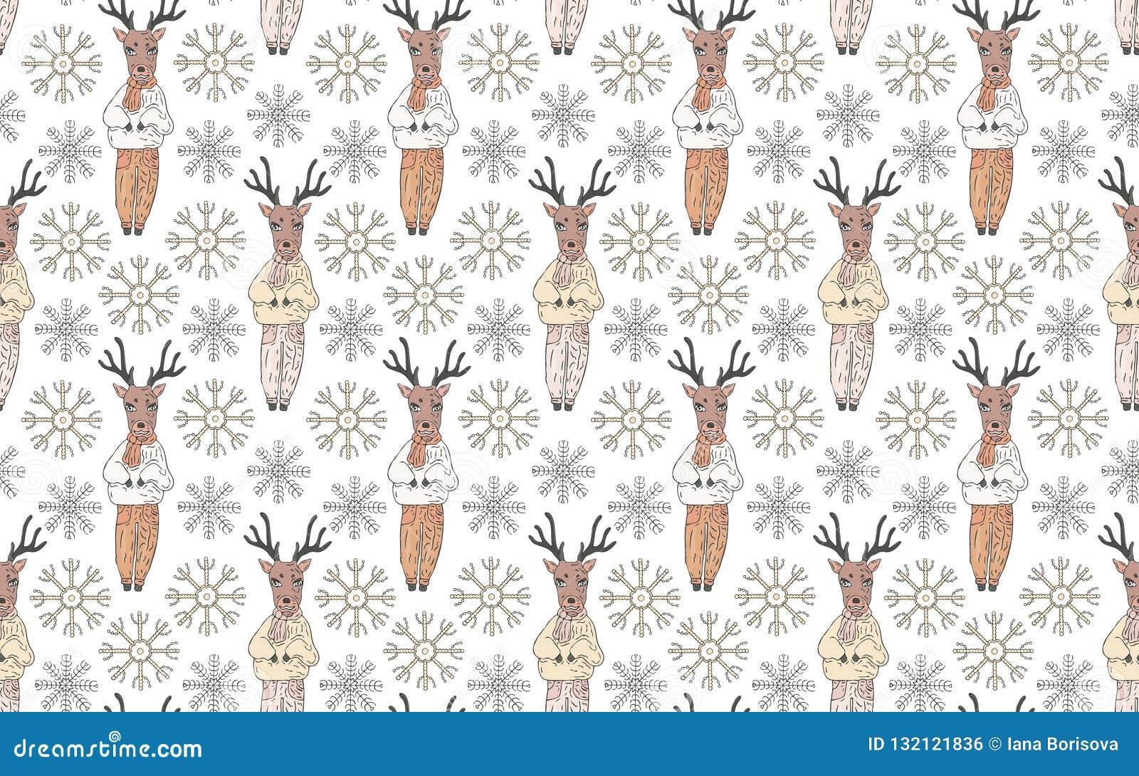 Naadloos patroon Herten in kleren en sneeuwvlokken op een witte achtergrond