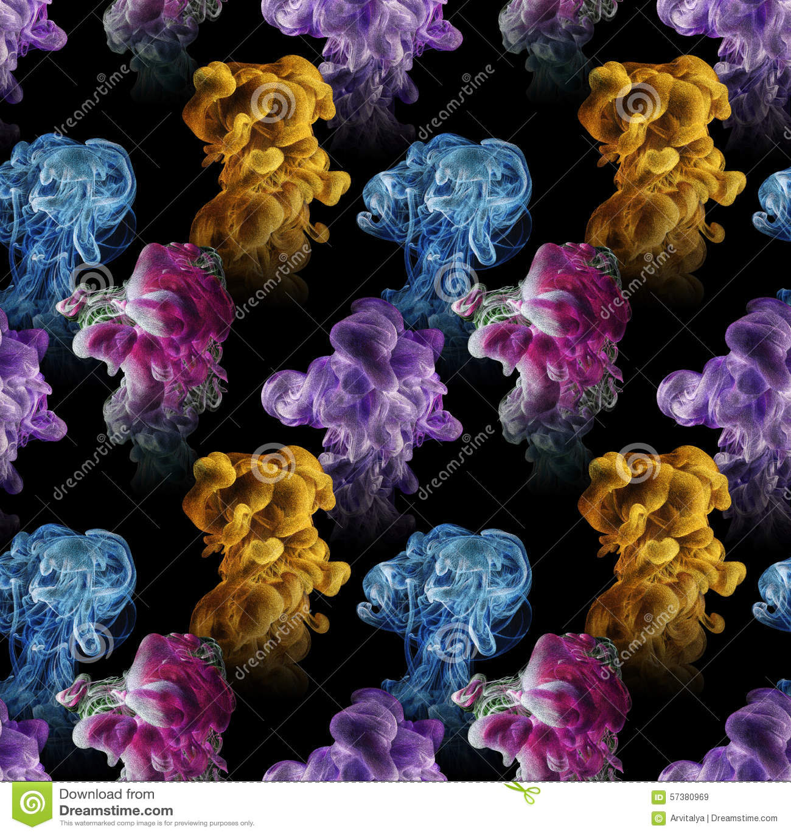 Naadloos patroon met abstracte die wolken van inkt met de hand worden getrokken met