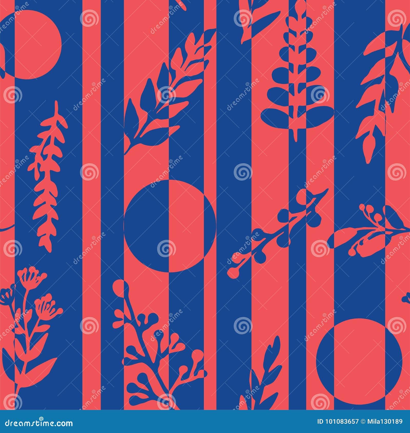 Naadloos patroon met abstracte strepen, bloemen, installaties in rode en blauwe kleuren