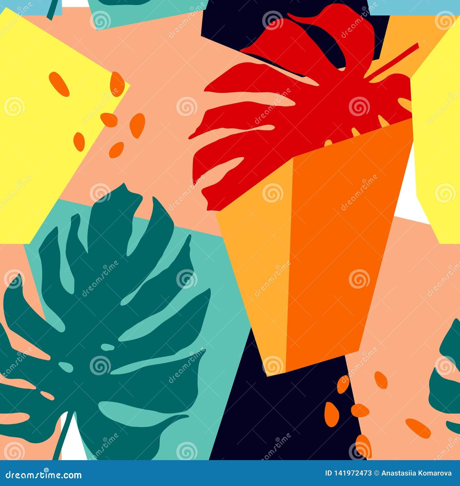 Naadloos patroon met abstracte vormen en tropische bladeren In kunst in collagestijl