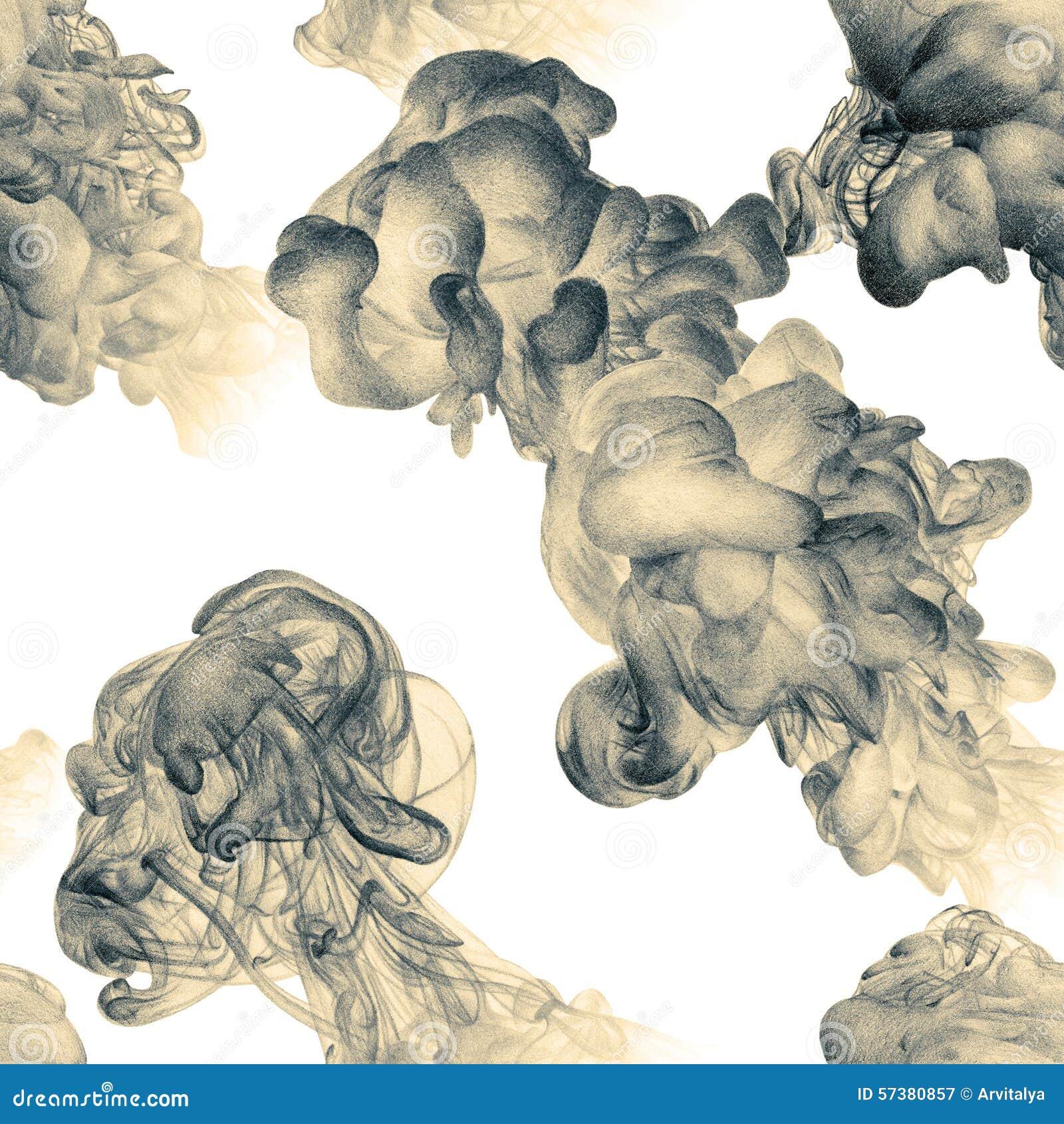 Naadloos patroon met abstracte wolken van inkt