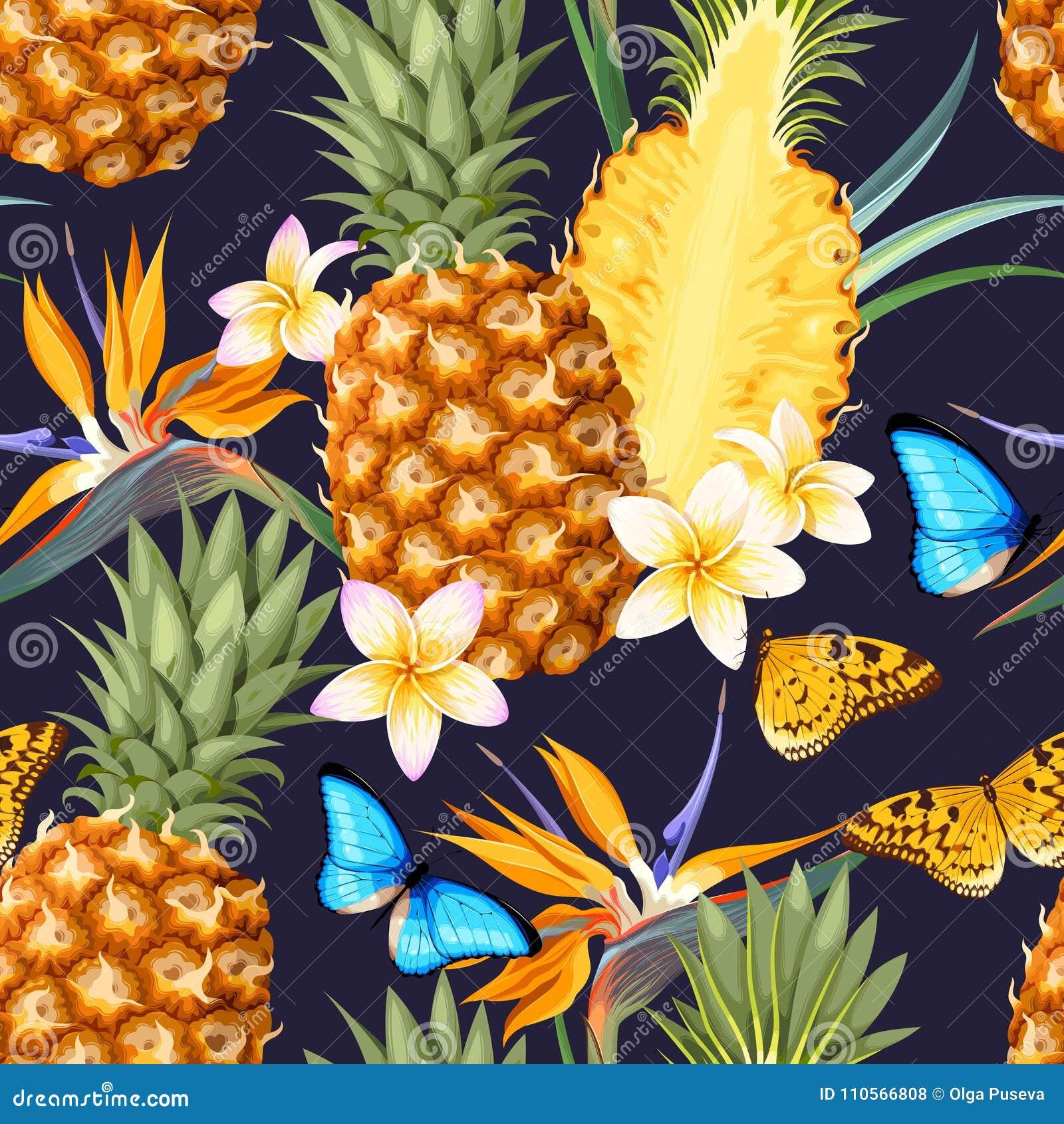 Naadloos patroon met ananasvruchten
