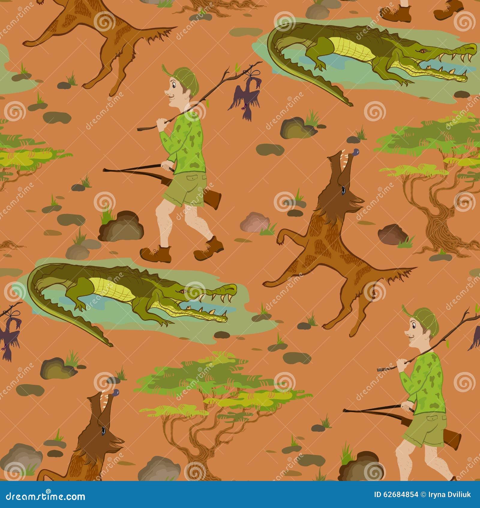Naadloos patroon met beeldverhaaljagers, wolfs en alligators
