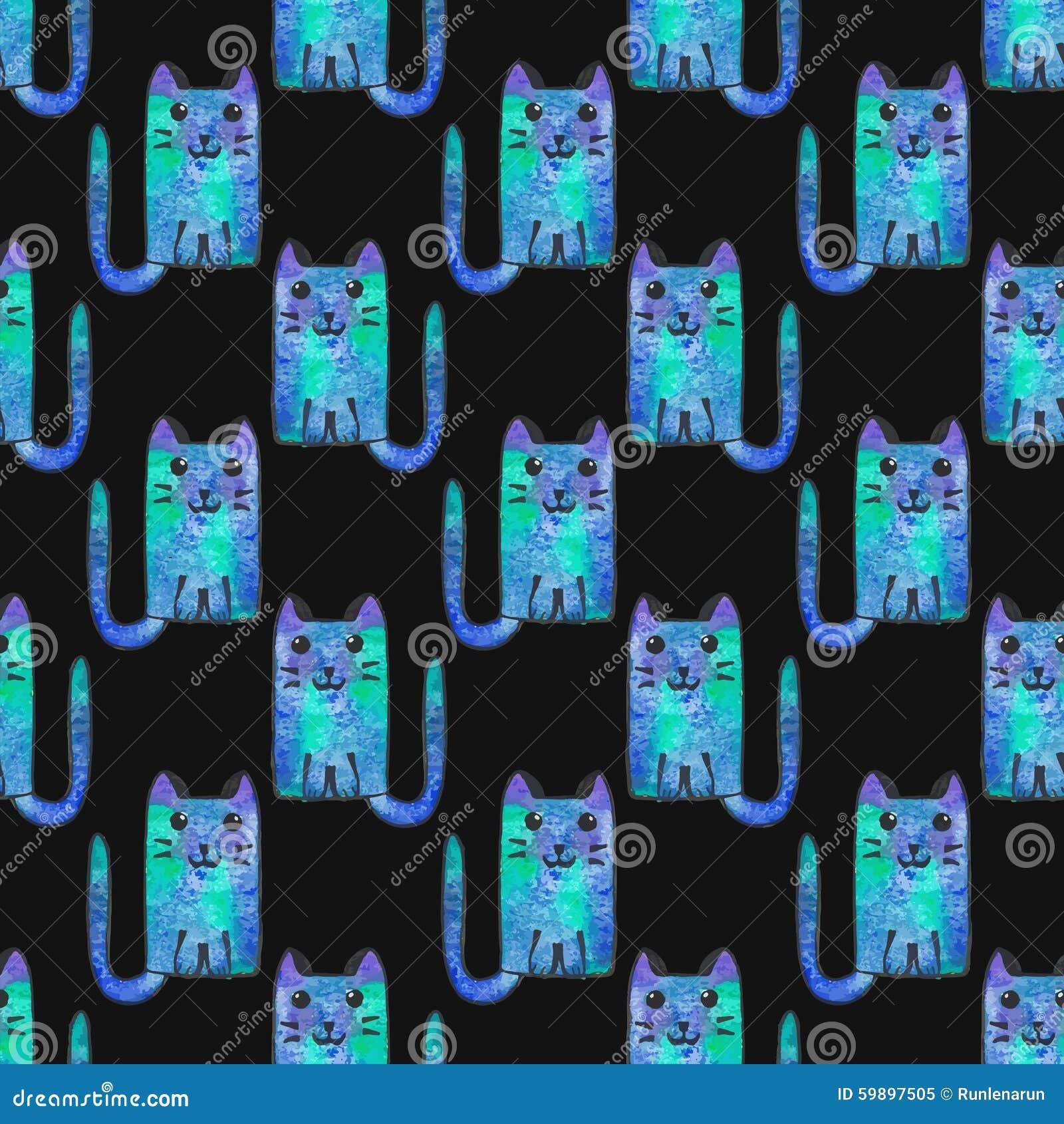 Naadloos patroon met beeldverhaalkatten Hand-drawn achtergrond Vector illustratie